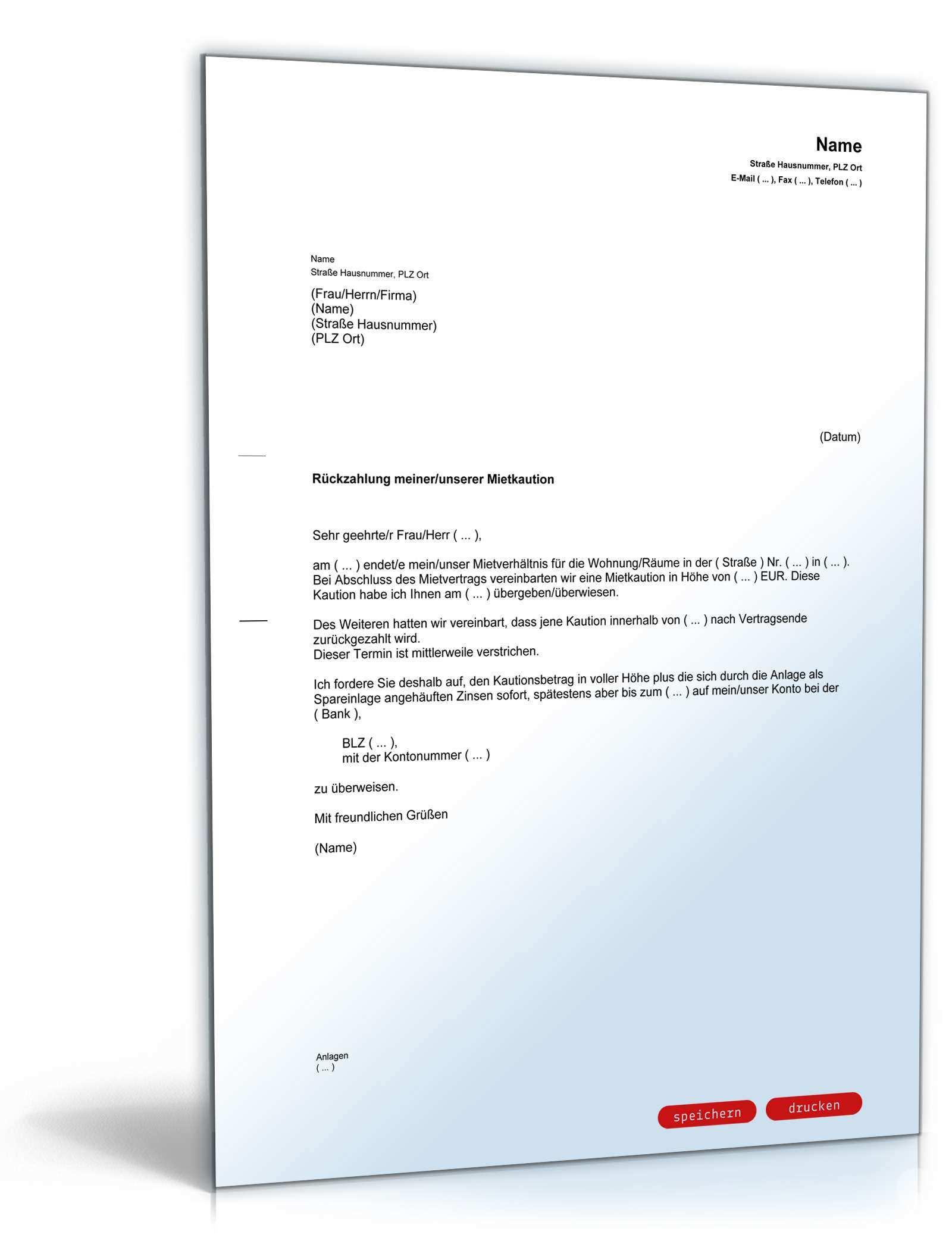 Aufforderung Ruckzahlung Mietkaution Muster Zum Download