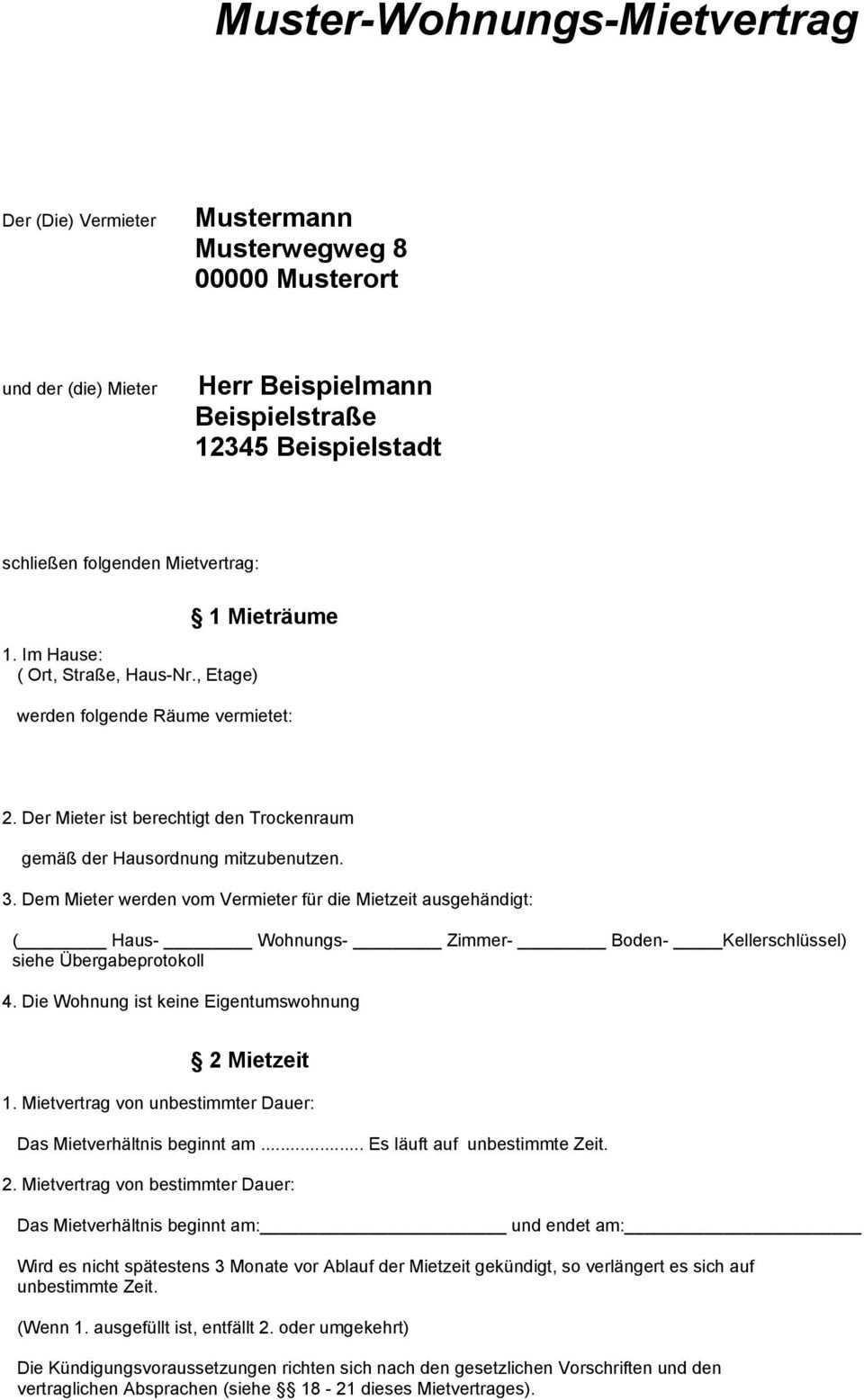 Muster Wohnungs Mietvertrag Pdf Kostenfreier Download