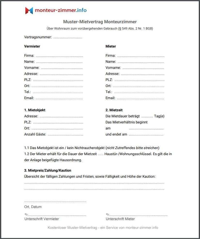 Der Richtige Mietvertrag Fur Die Vermietung Von Monteurzimmern Monteur Zimmer Info Blog