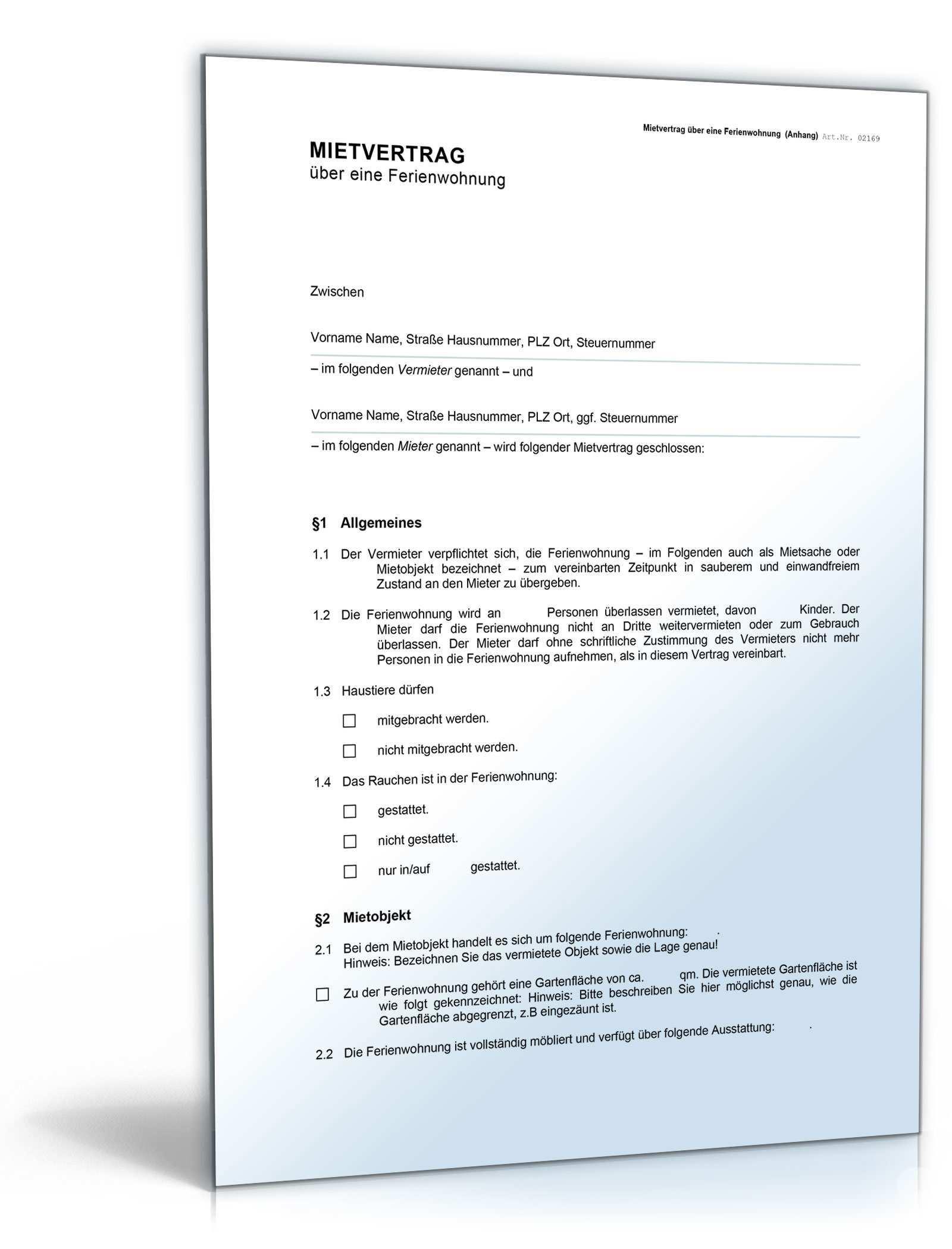 Mietvertrag Fur Eine Ferienwohnung De Vertrag Download