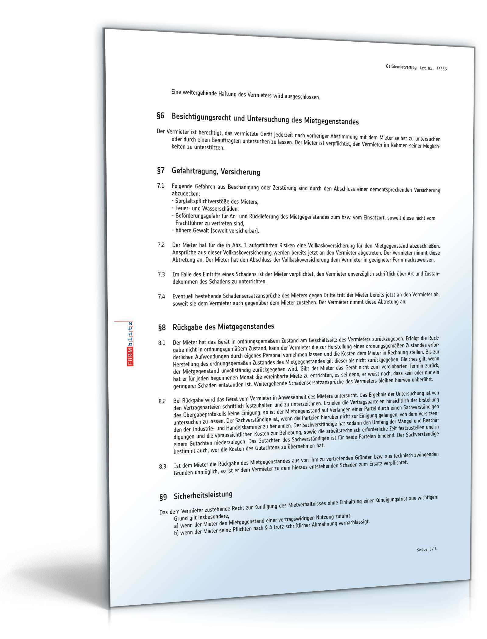 Geratemietvertrag Rechtssicheres Muster Als Pdf Doc