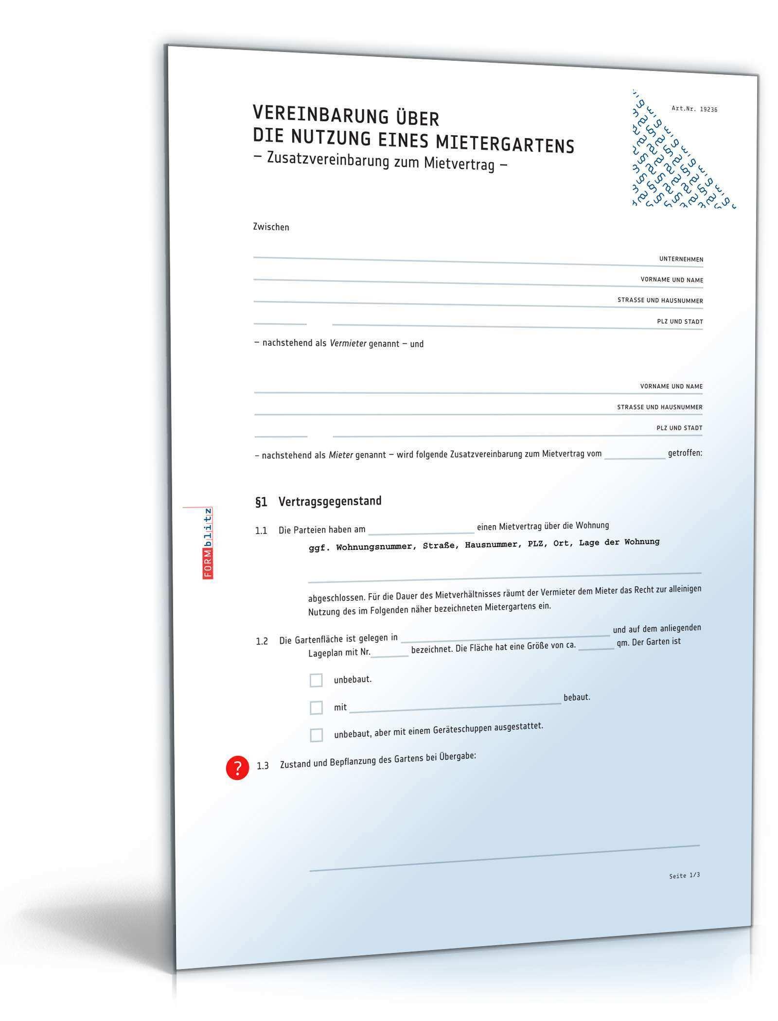 Vereinbarung Nutzung Mietergarten Muster Zum Download