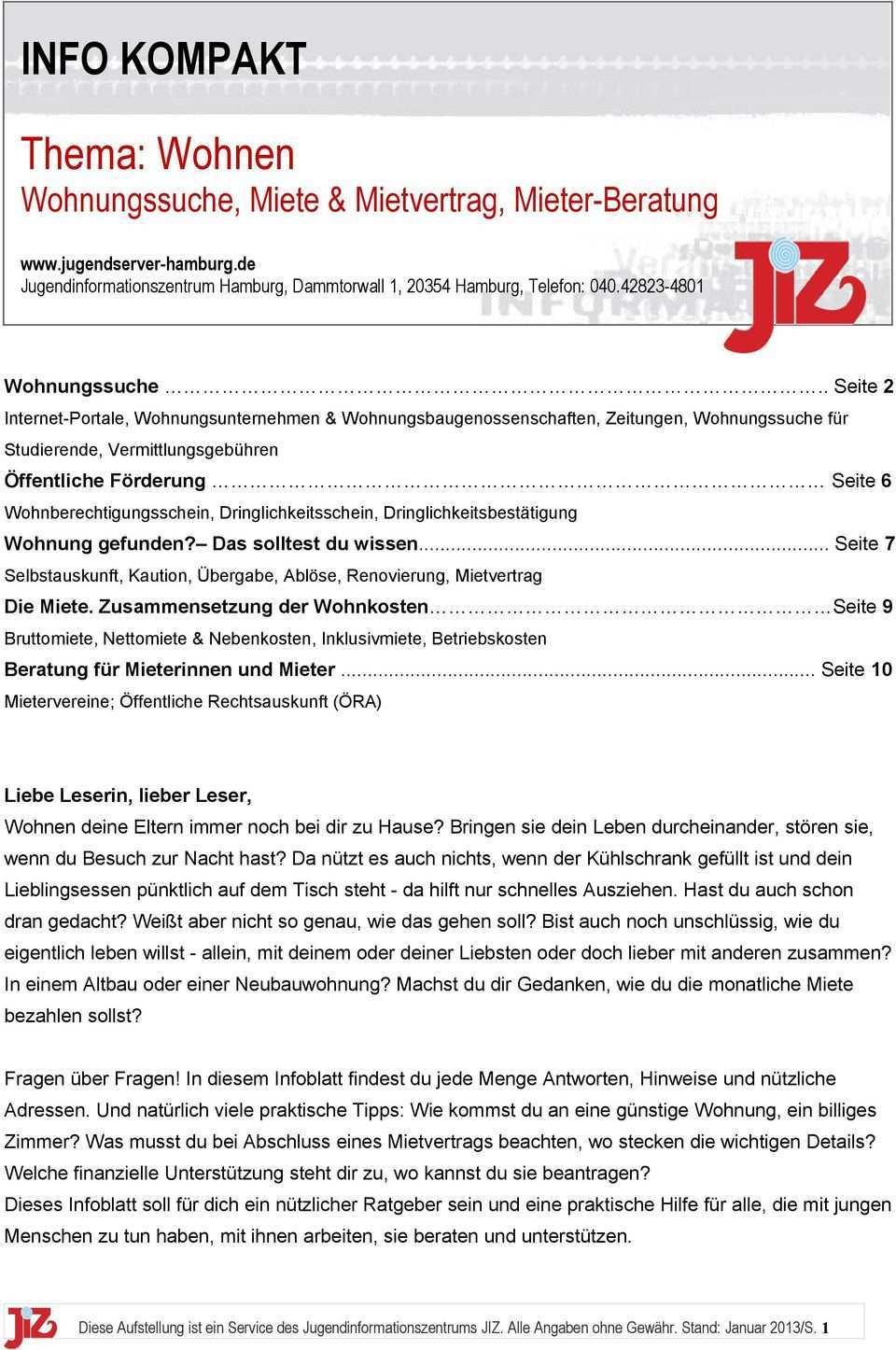 Thema Wohnen Wohnungssuche Miete Mietvertrag Mieter Beratung Pdf Free Download