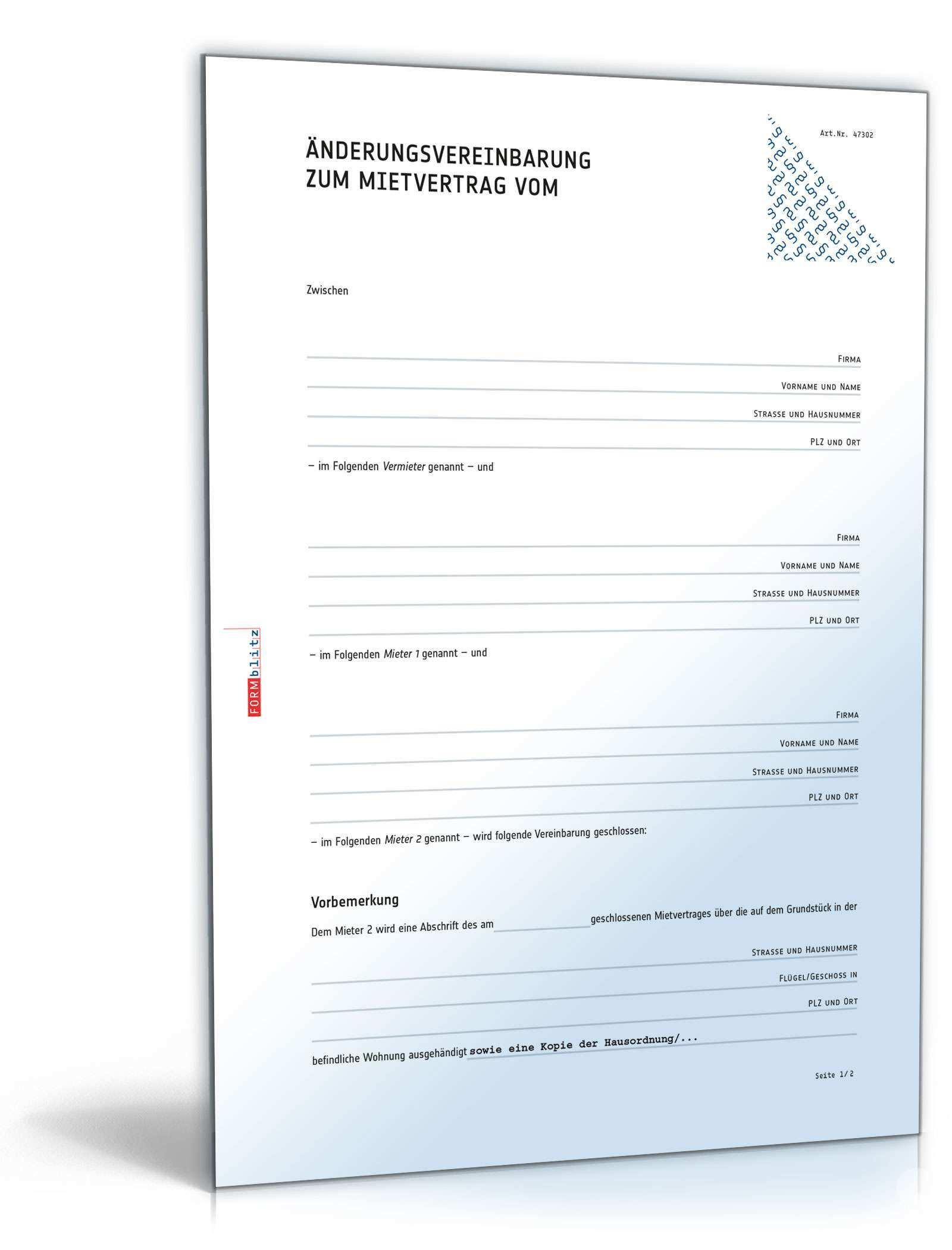 Anderungsvereinbarung Mietvertrag Muster Zum Download