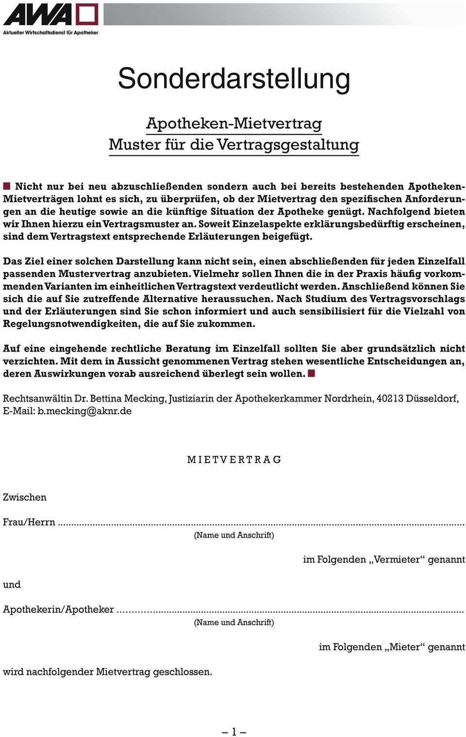 Sonderdarstellung Apotheken Mietvertrag Muster Fur Die Vertragsgestaltung Pdf Free Download