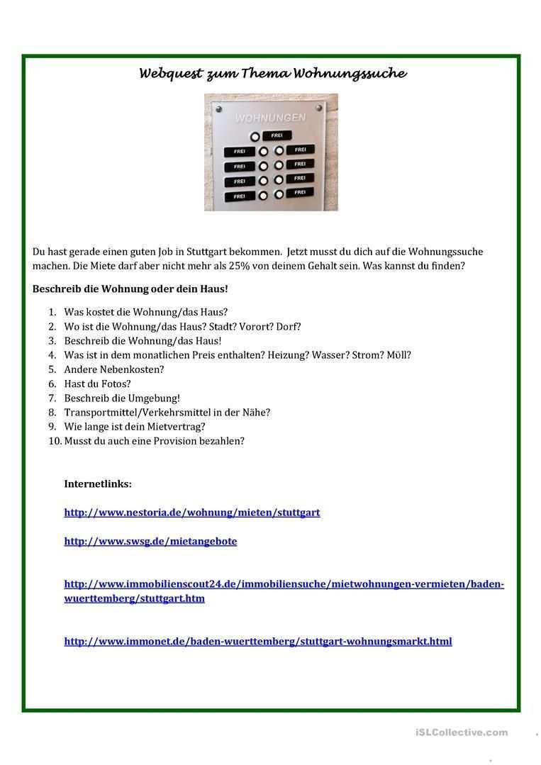Webquest Wohnungssuche Wohnungssuche Wohnung Haus Mieten