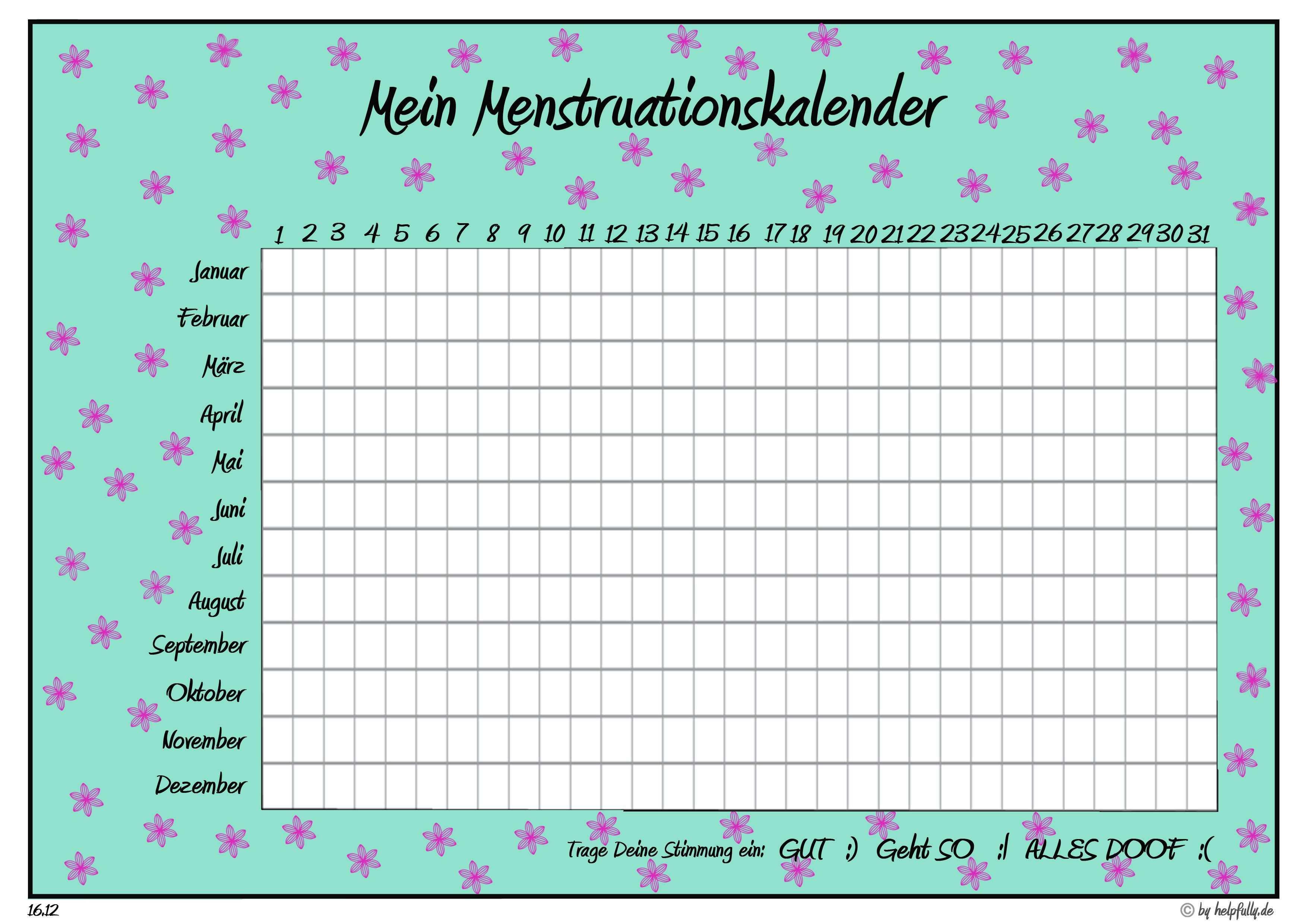 Vorlage Mein Menstruationskalender Blumen Turkis Pink Menstruationskalender Kalender Druckbare Planer
