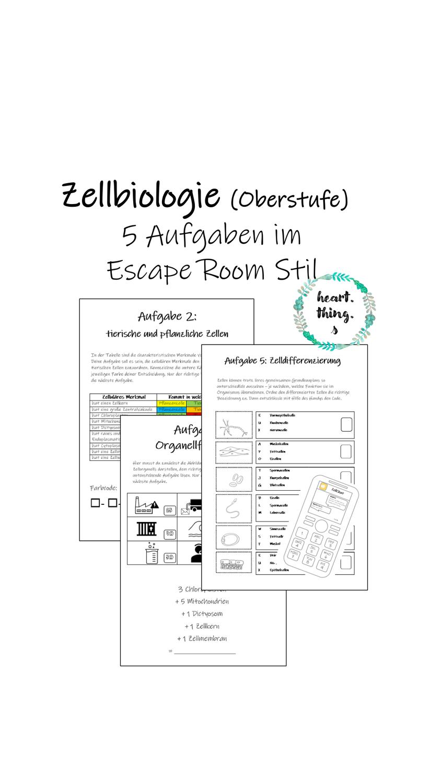 Zellbiologische Inhalte Escape Room Stil Lernen Unterrichtsmaterial Escape Room