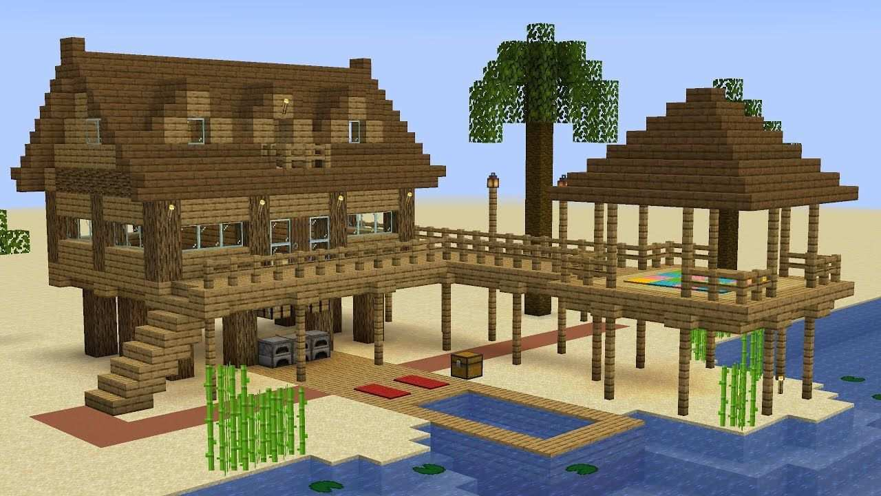 Minecraft How To Build A Beach House In 2020 Minecraft Beach House Easy Minecraft Houses Minecraft Architecture