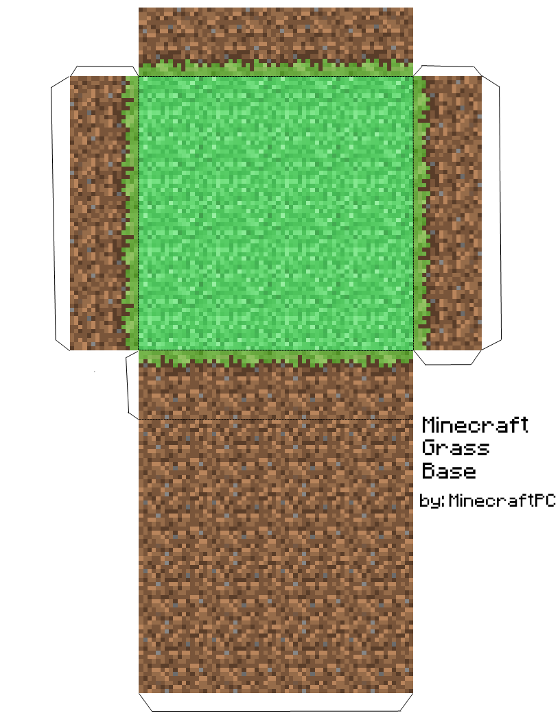 Papercraft Grass Block Base Minecraft Crafts Minecraft Printables Papercraft Minecraft Skin