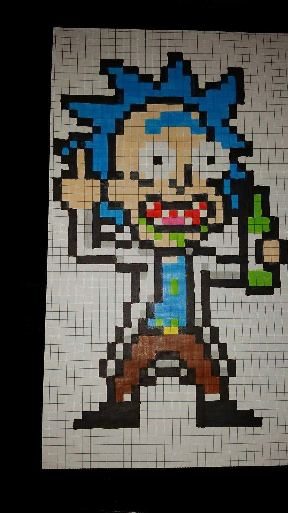 Rick Pixel Art Graph Paper Drawings Anime Drawings Sketches Graph Paper Art Easy Drawings Minecraft Drawings M Pixel Art Anime Pixel Art Pixel Art Pattern