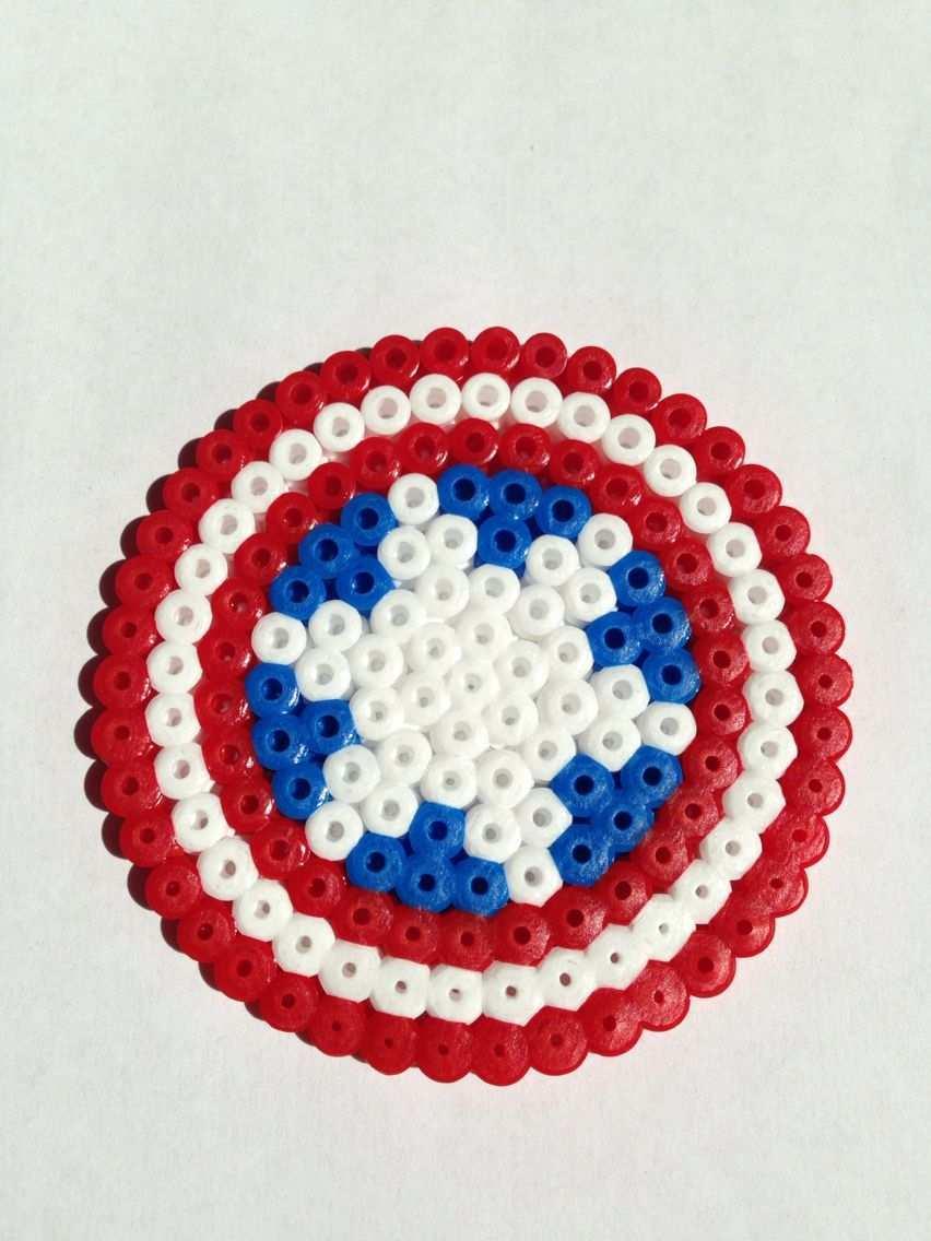 Captain America Steve Rogers Shield Schild Perler Bead Pearler Beads Hama Beads Perler Beads