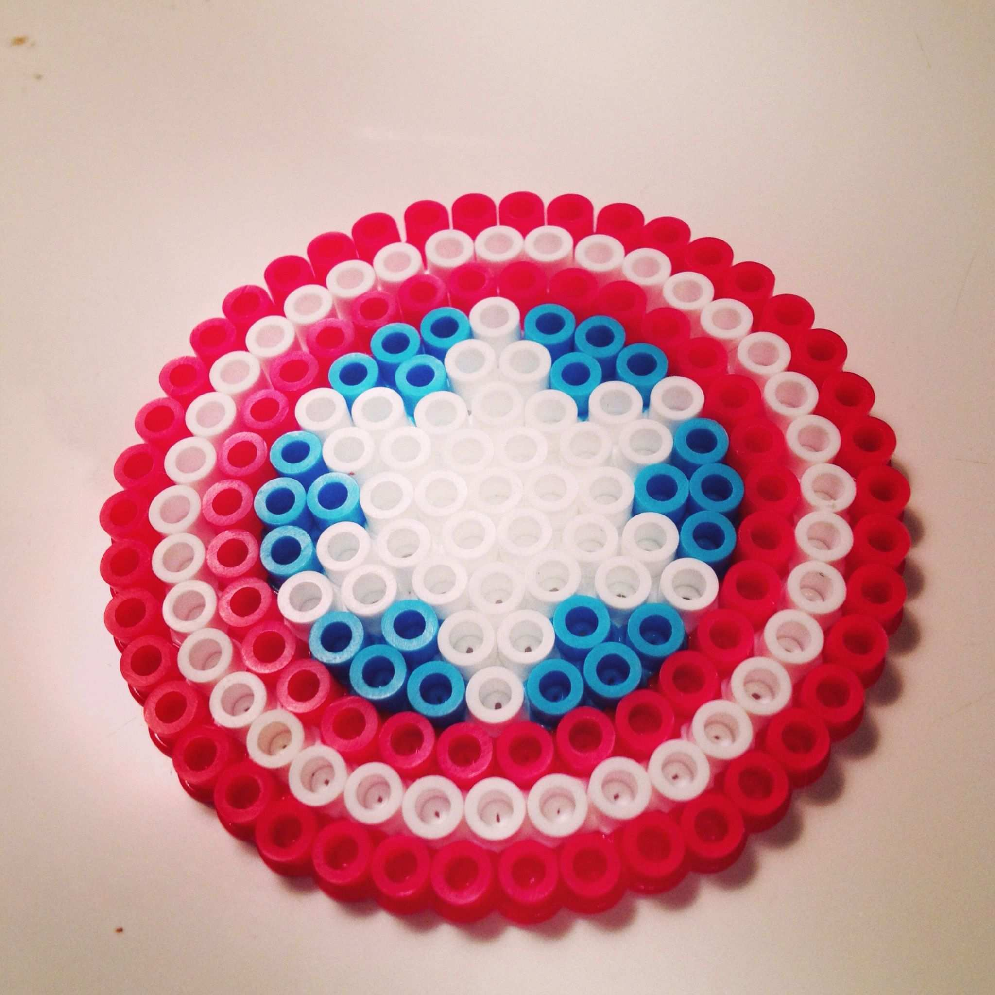 Captain America Shield Perler Beads By Kate Chaplin Diy Perler Beads Hama Beads Design Perler Beads Designs