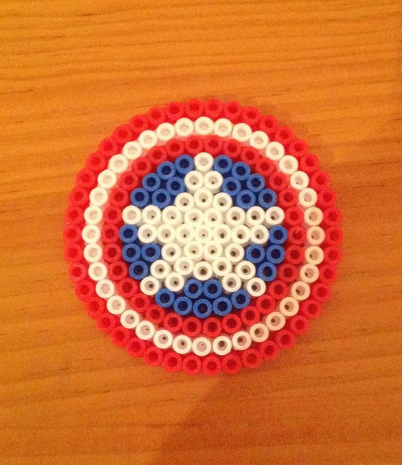 Perler Beads Captain America S Shield Hama Beads Patterns Perler Bead Art Perler Beads