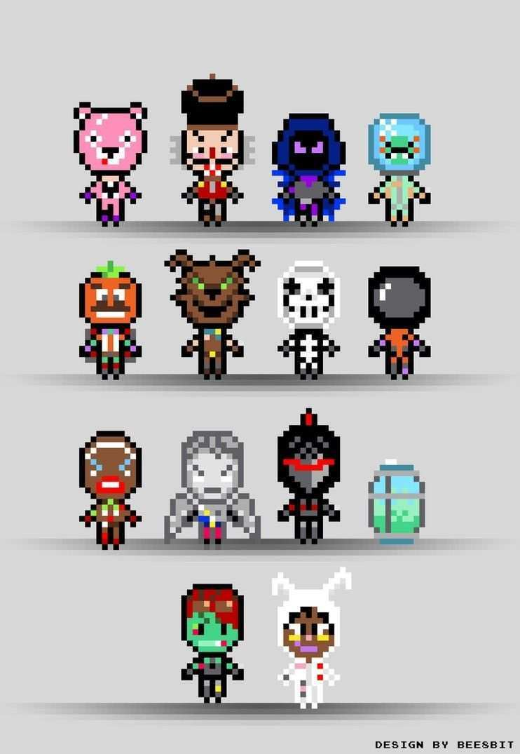 Fortnite Pixel Skins This Is A Collection Of Skins From The Game Fortnite Battle Royale Preparation W Diy Perler Beads Perler Bead Patterns Perler Bead Art