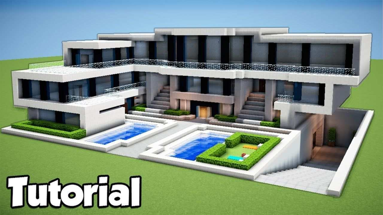 Minecraft How To Build A Large Modern House Tutorial 2018 Minecraft How To Build A Large Modern House T Moderne Hauser Bauen Modernes Haus Haus Bauen