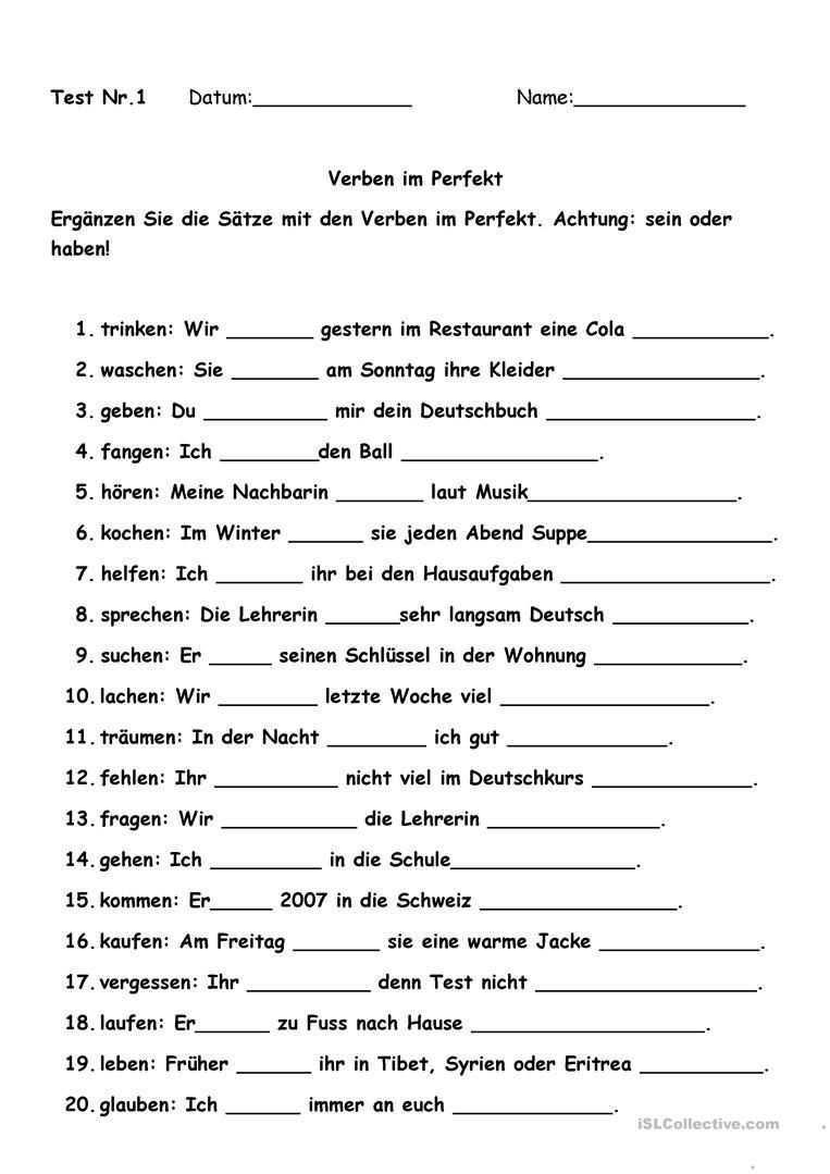 Die Besten Deutsch A1 Arbeitsblatter Deutsch Lernen Verben Lernen