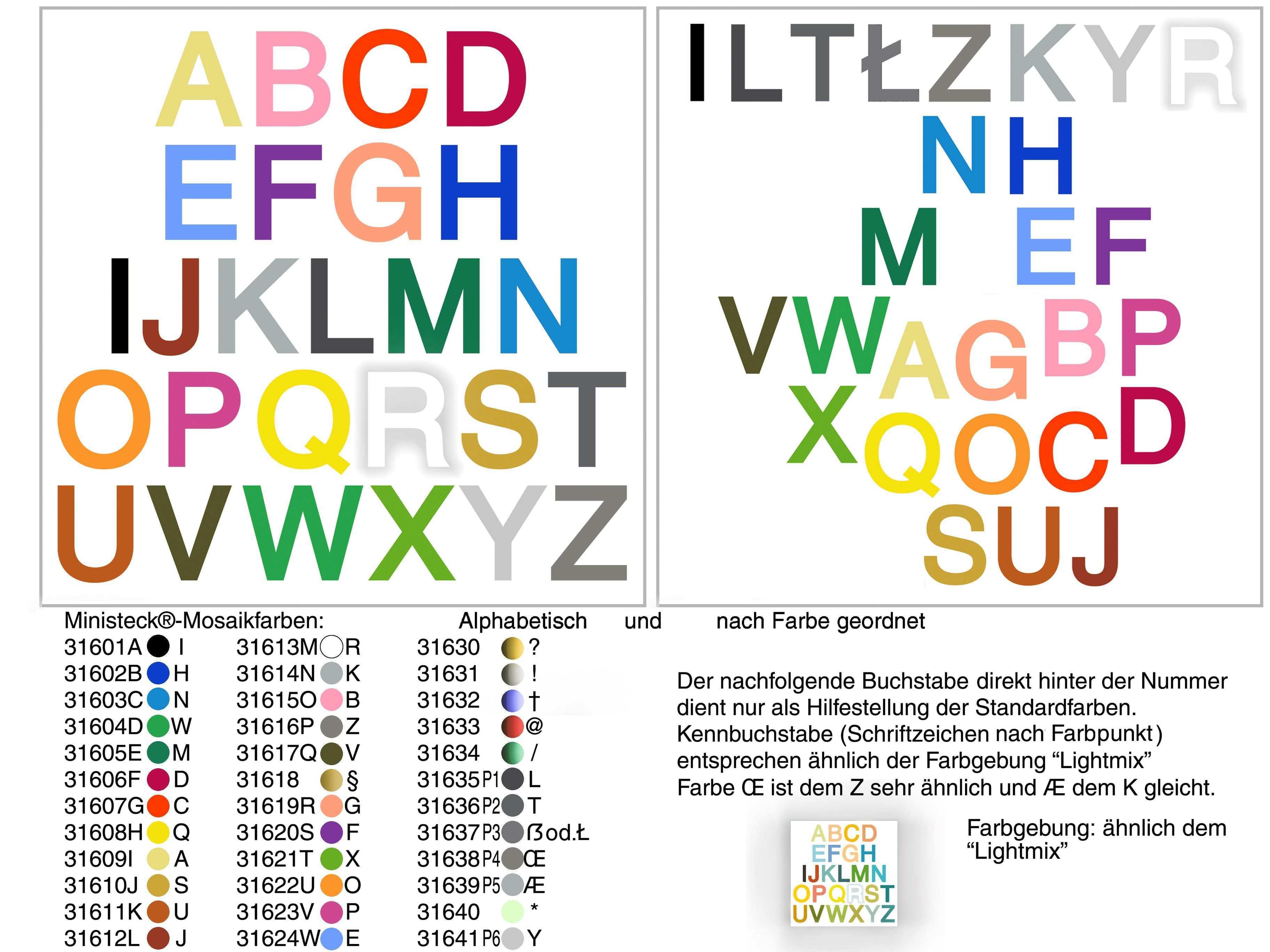 Farbiges Alphabet Synastesie Von Buchstaben Hier Ist Eine Palette Mit Ministeck Mosaikfarben Wie Hier Diese Farbgebung An
