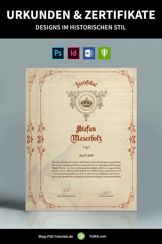 Historische Urkunden Zertifikate Vorlagen Fur Word Co Urkunde Zertifikat Design Zertifikat