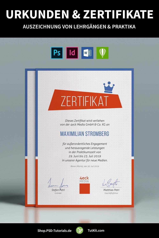 Urkunden Zertifikate Vorlagen Zum Gestalten Und Ausdrucken Urkunde Zertifikat Vorlage Zertifikat