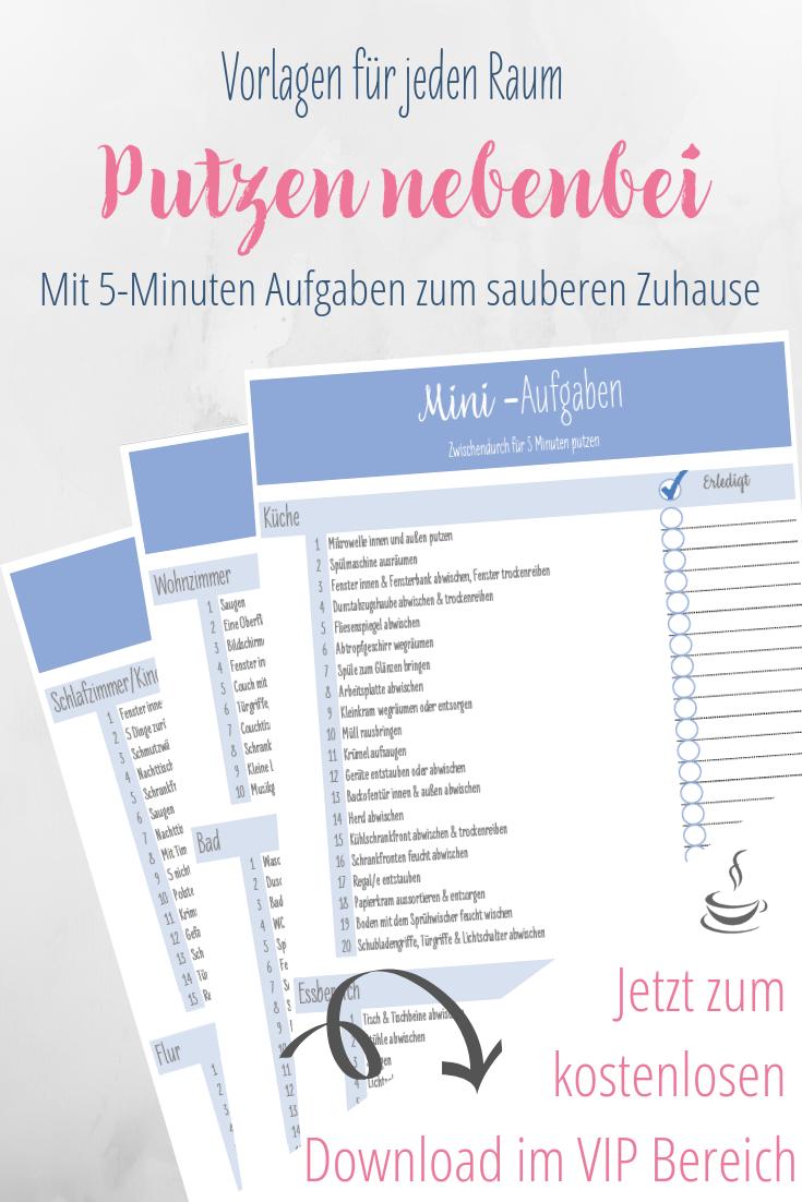 Putzenplan Fur Nebenbei Mit 5 Minuten Vorlage Reinigungsplan Vorlagen Haushalts Ordner Putzplan
