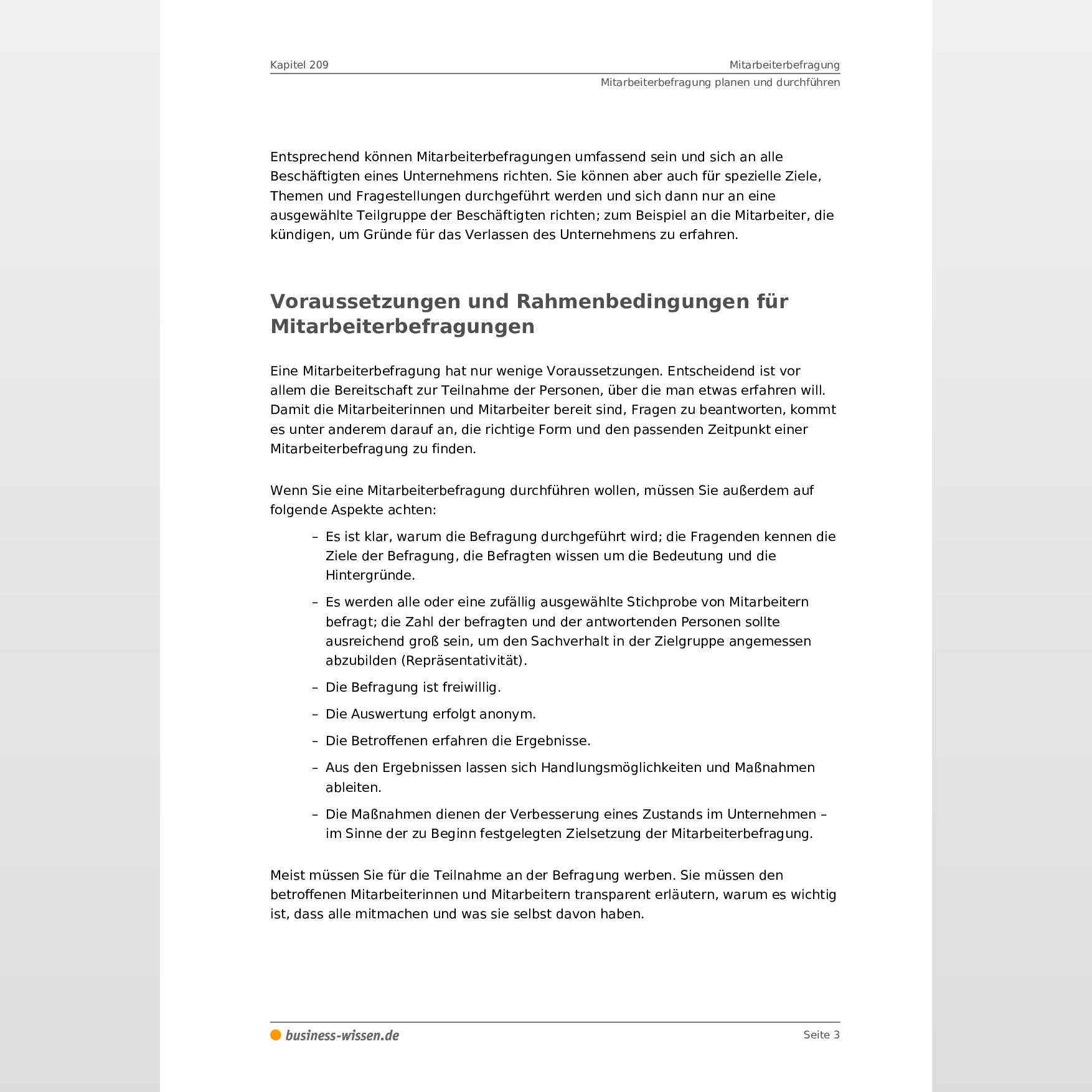 Mitarbeiterbefragung Kapitel 209 Business Wissen De