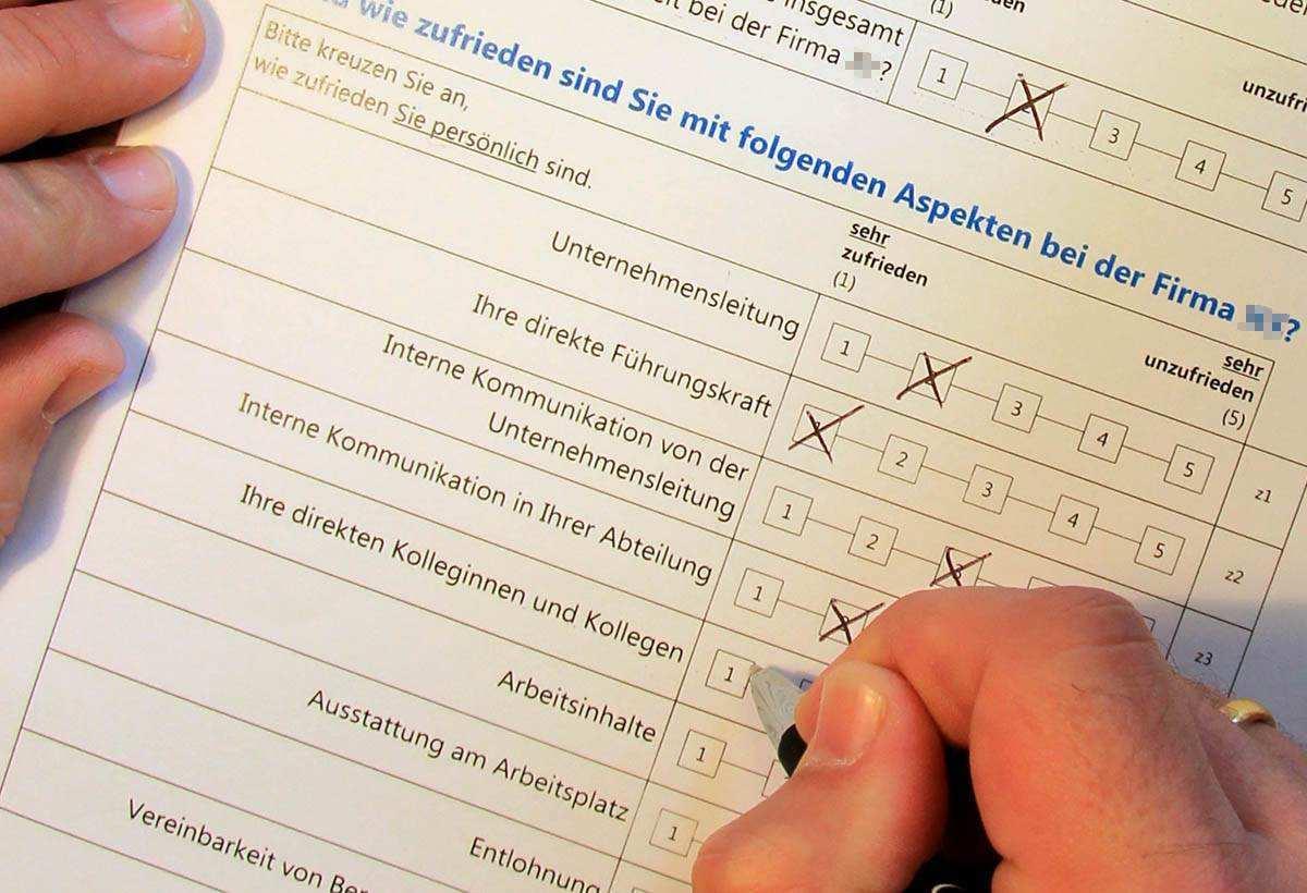 Ein Fragebogen Musterbeispiel Fur Mitarbeiterbefragungen Mitarbeiterbefragung Fragebogen Muster Ipf Wenzel