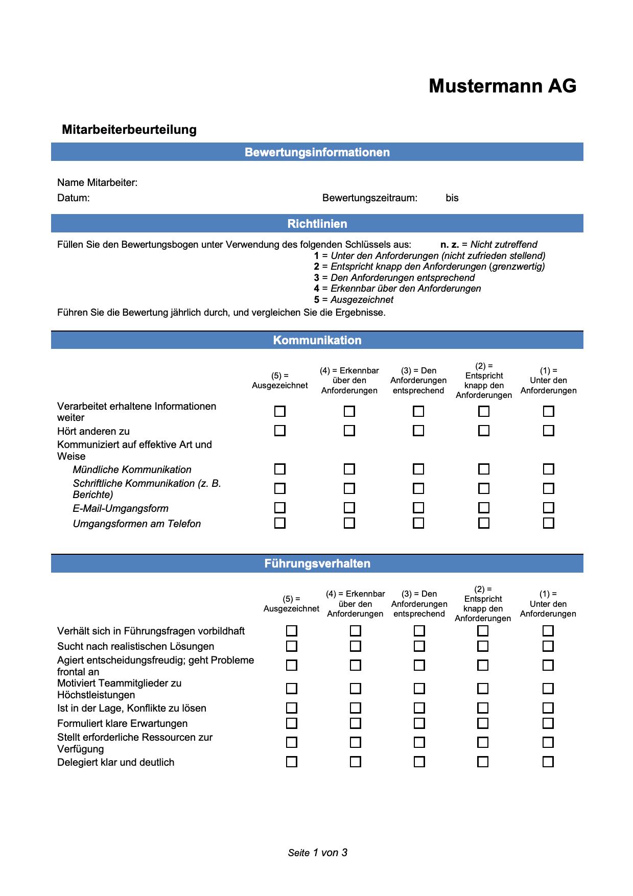 Mitarbeiterbeurteilung Vorlage Kostenlose Word Vorlage Vorla Ch