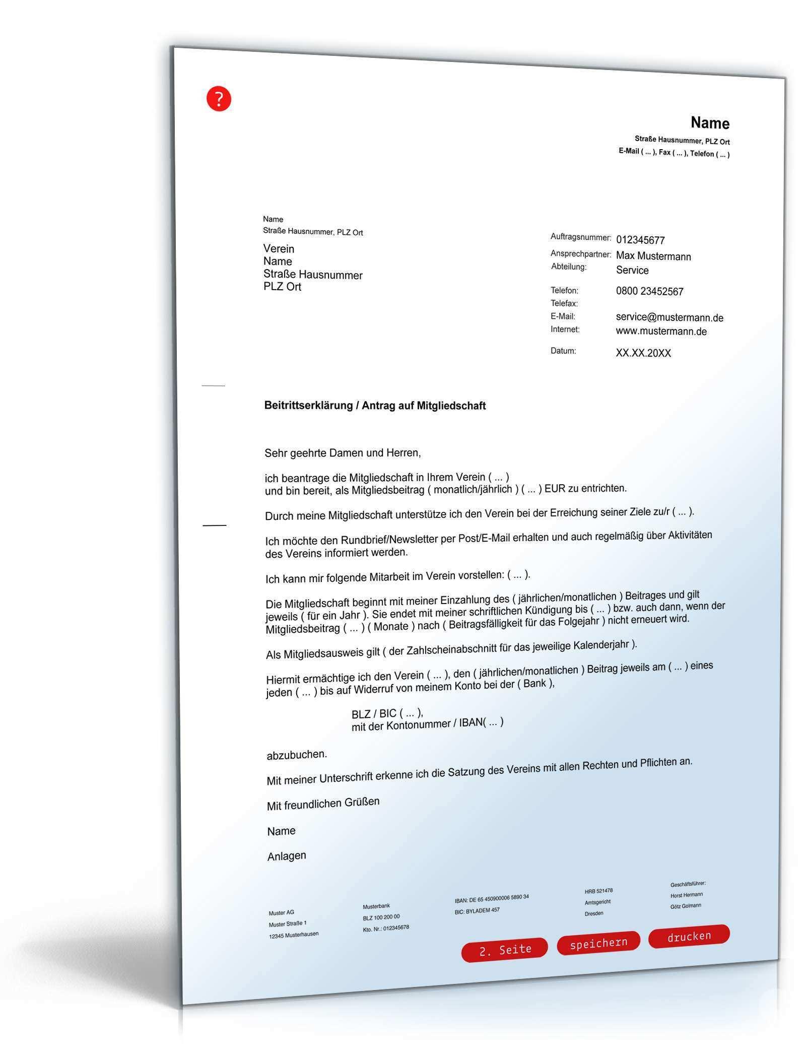 Beitrittserklarung Verein Antrag Mitgliedschaft Muster Zum Download