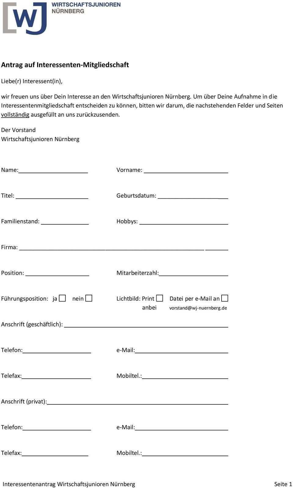Antrag Auf Interessenten Mitgliedschaft Pdf Kostenfreier Download