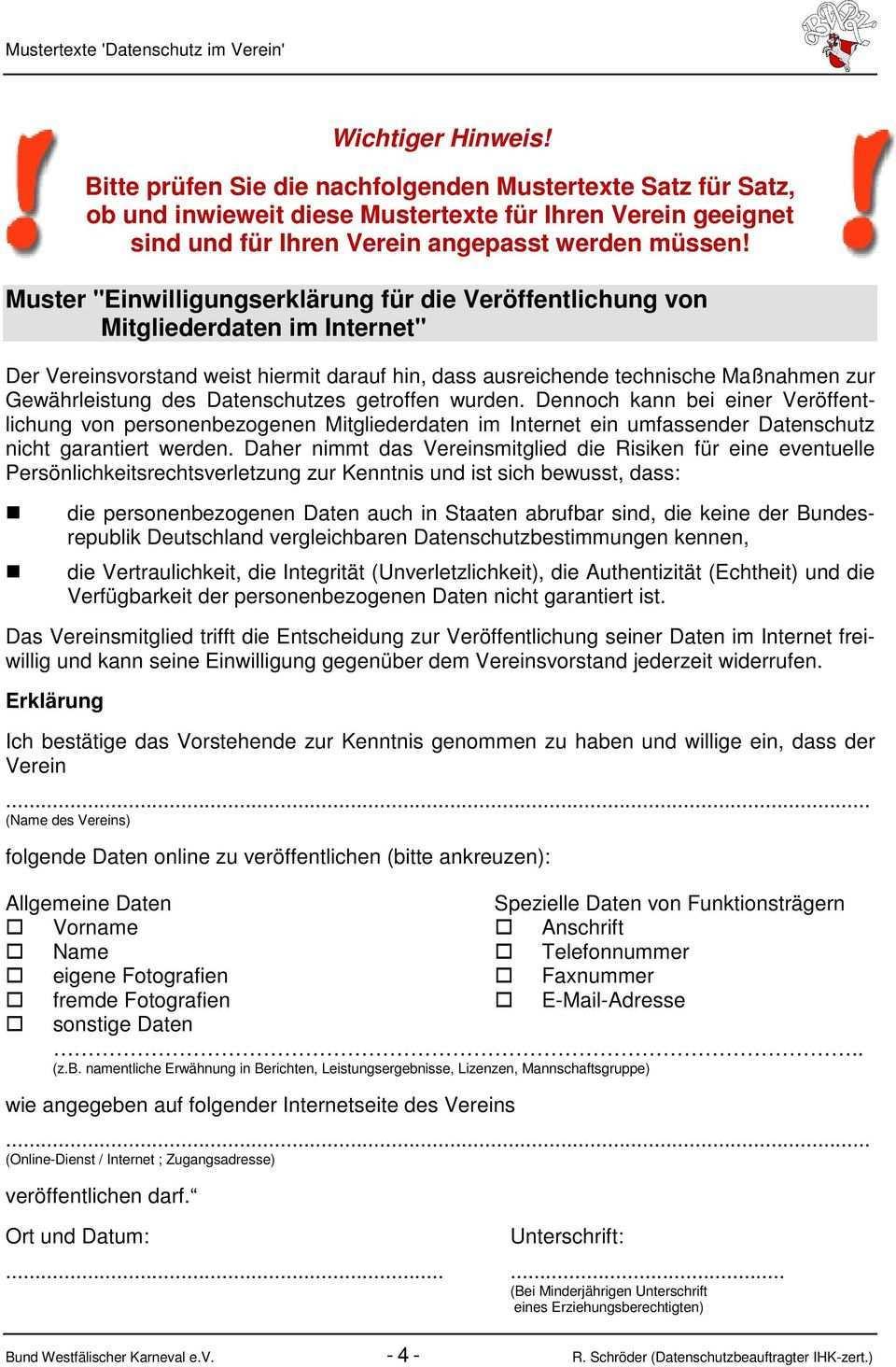 Mustertexte Zum Umgang Mit Personenbezogenen Daten Im Vereinsleben Datenschutz Pdf Free Download