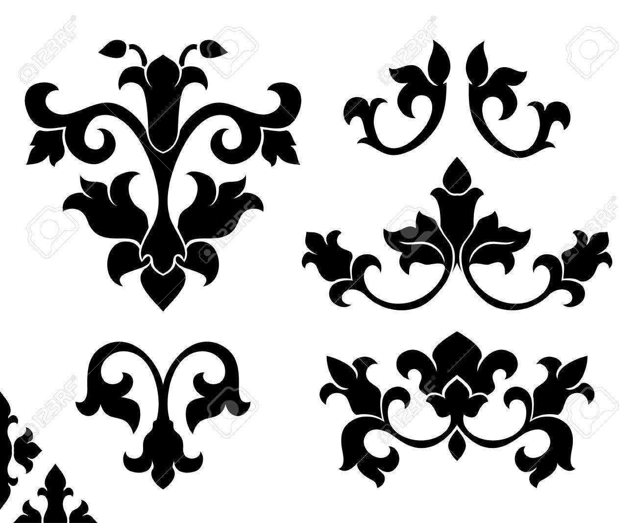 Satz Klassische Gestaltungselemente Schwarze Mit Blumenmuster Auf Einem Weissen Hintergrund Stilisierte Mittelalterliche Ornamente Lizenzfrei Nutzbare Vektorgrafiken Clip Arts Illustrationen Image 74883111