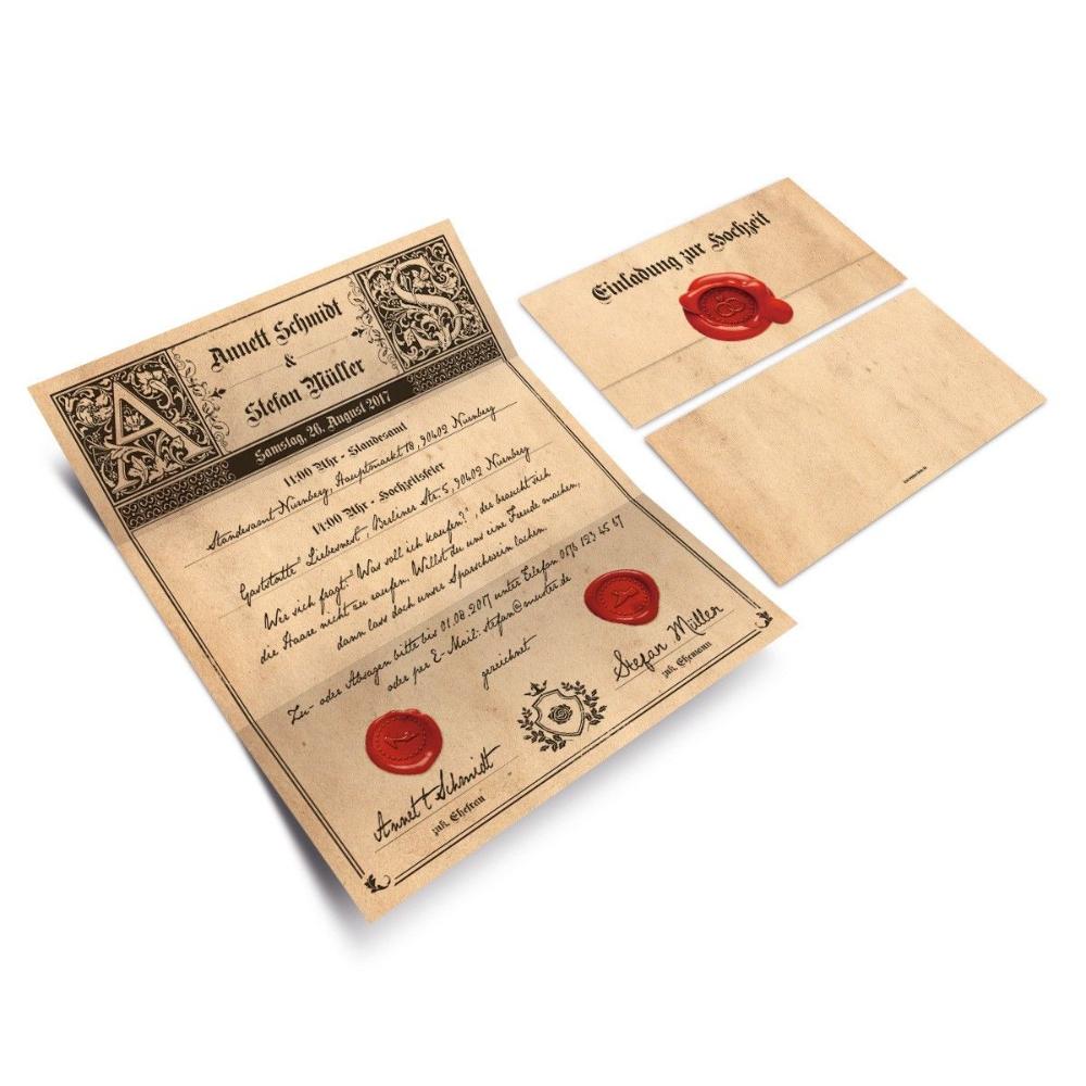 Hochzeitseinladungen Siegelbrief Hochzeit Einladung Einladungskarten Hochzeit Kaufen