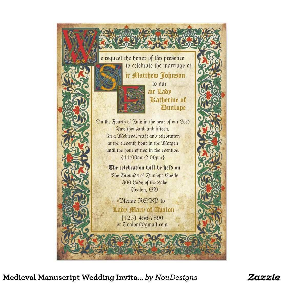 Medieval Manuscript Wedding Invitation Card Zazzle Com Einladungen Einladungskarten Karte Hochzeit