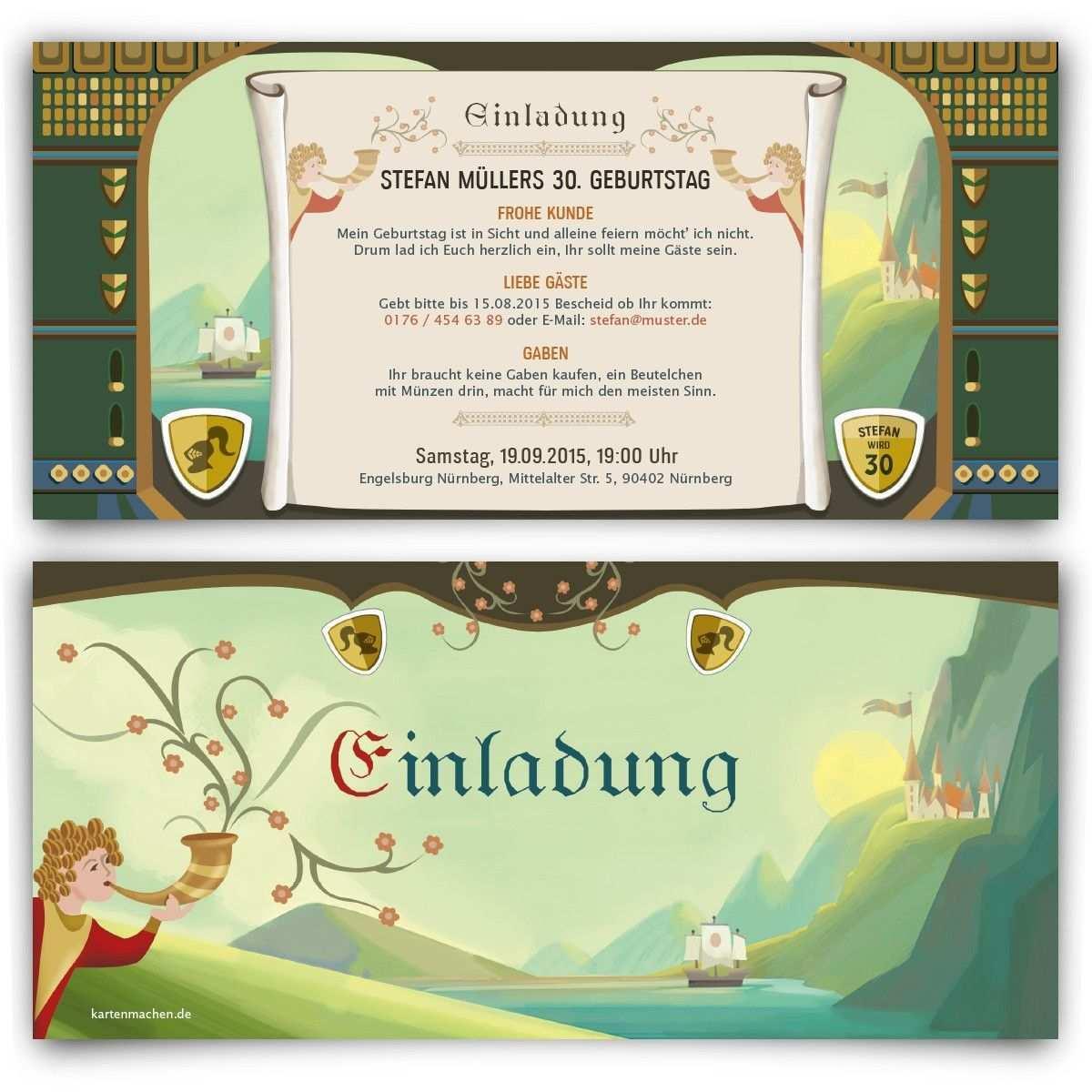 Einladungskarten Mittelalter Geburtstag Einladung Geburtstagseinladung Birthday Invitation Mittela Hochzeitseinladung Einladungen Herzliche Gratulation