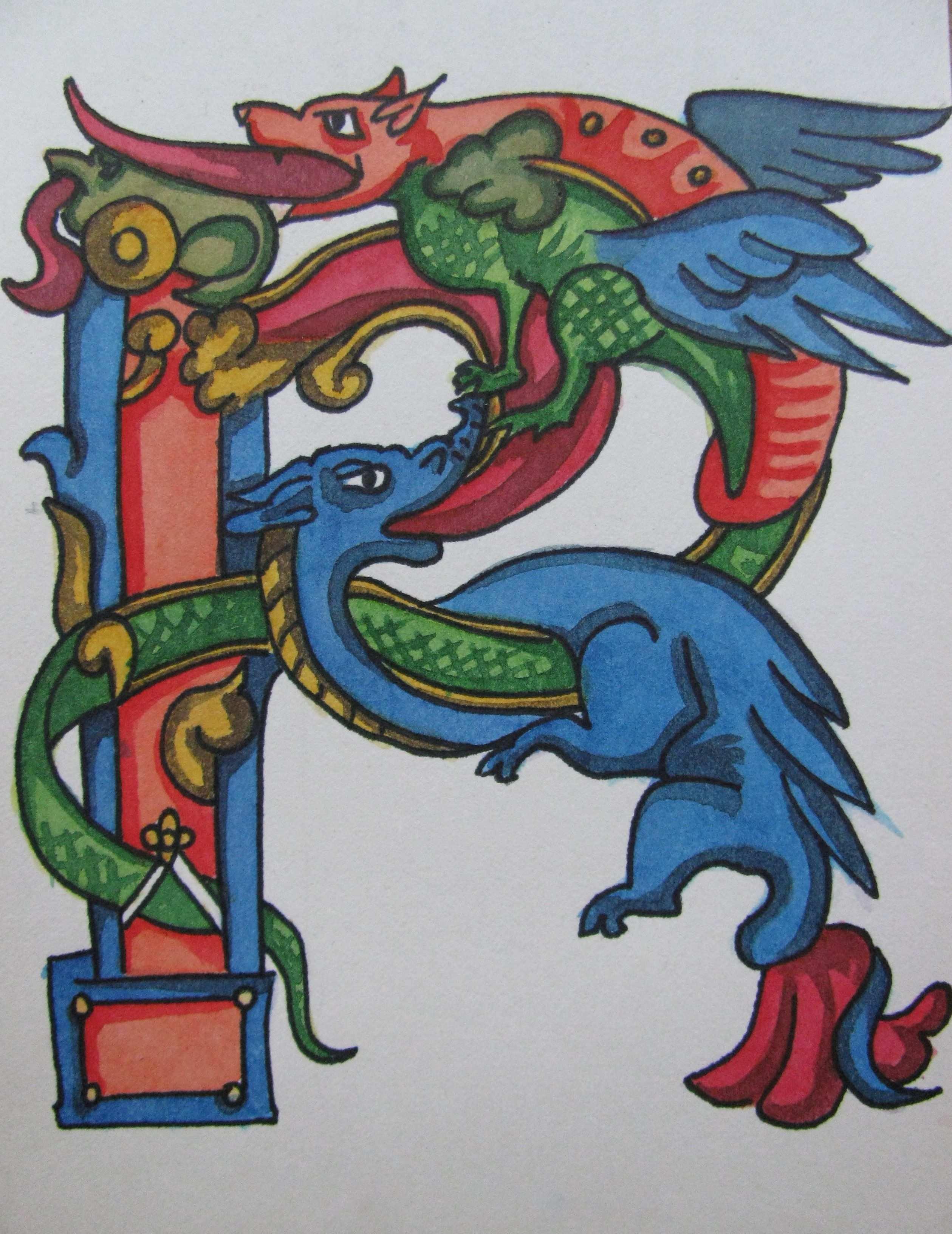 Finished Medieval Letter R By Ruth1697 Kreativer Schriftzug Initialen Schriftarten