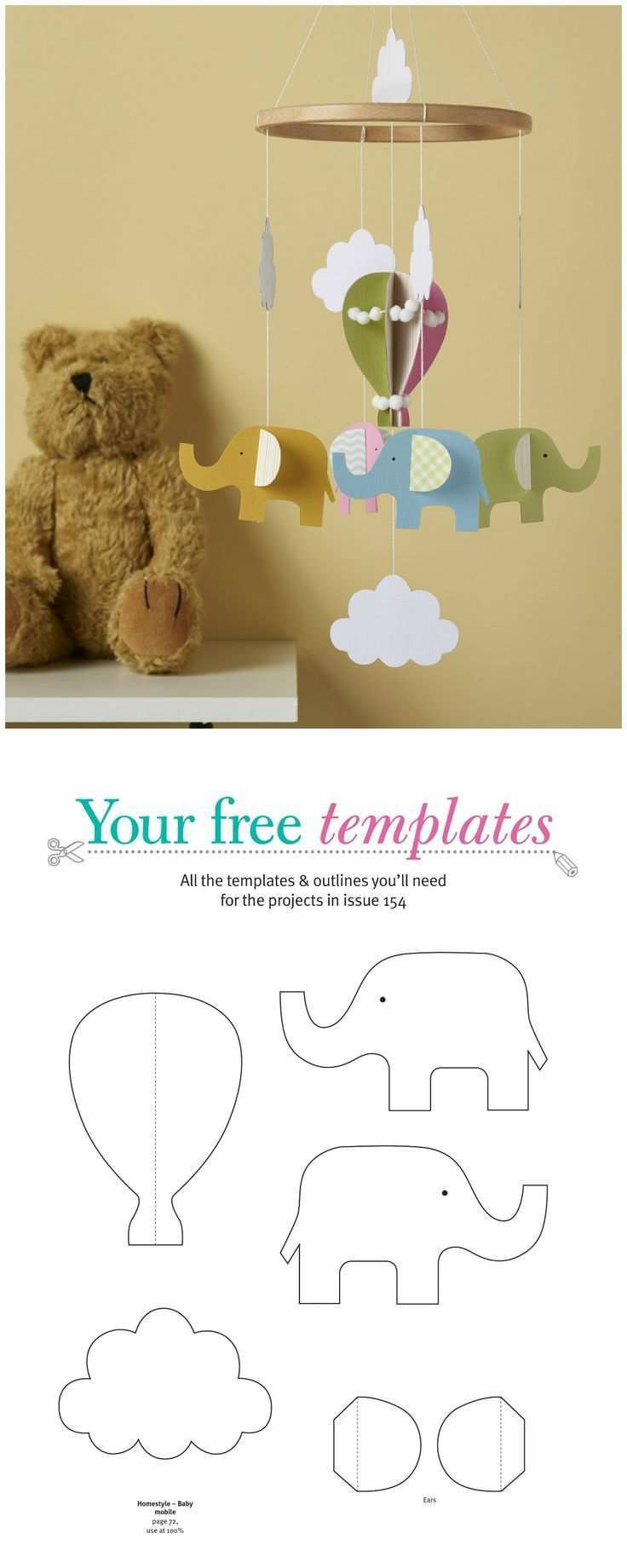Make A Charming Baby Mobile For The Nursery Using Our Free Templates Baby Mobile Mobile Basteln Papier Baby Deko