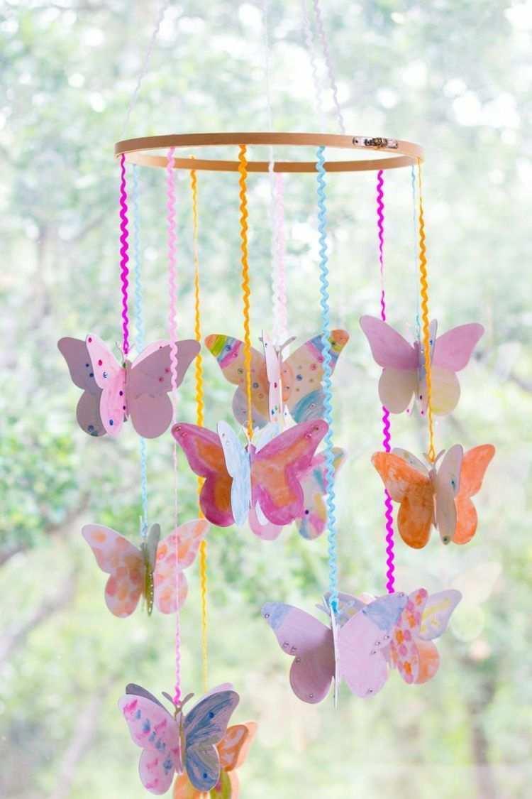 Fur Und Mit Kinder Ein Mobile Basteln Basteln Fruhling Kinder Schmetterlinge Basteln Mobile Basteln