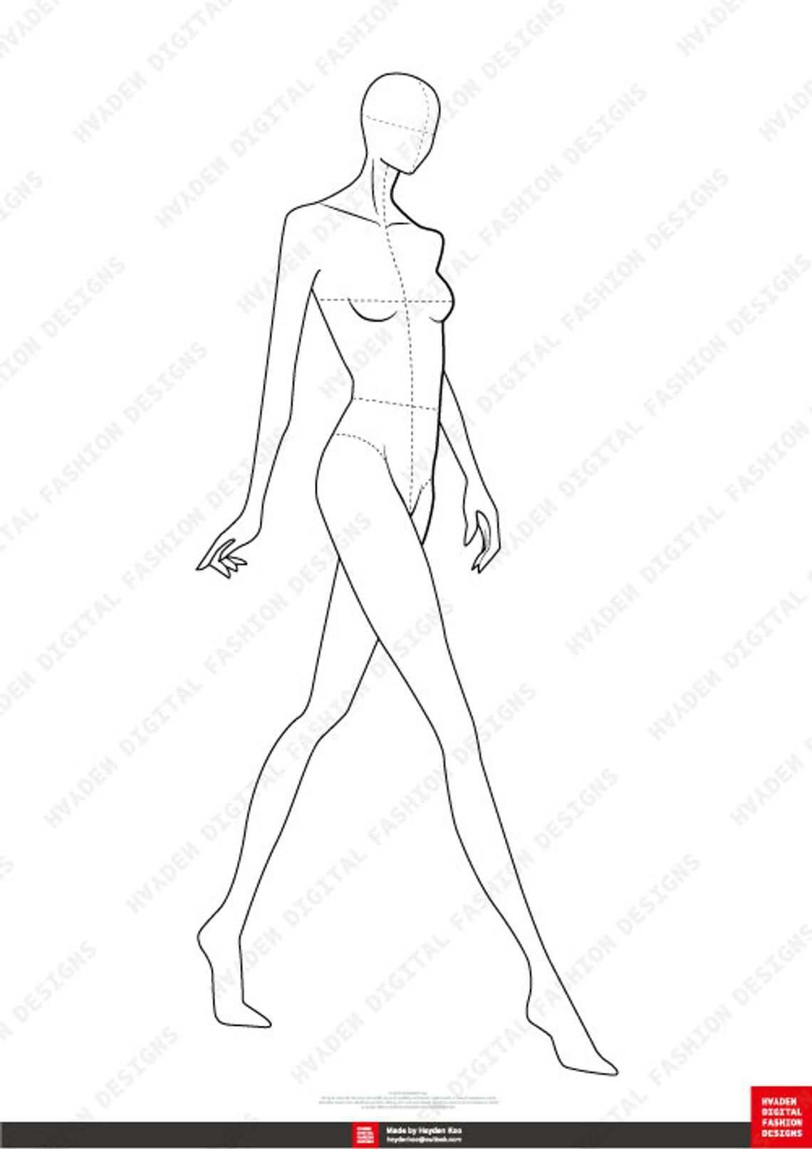 Female Fashion Figure Template 10 Head Etsy Fashion Illustration Template Fashion Figure Templates Croquis Fashion