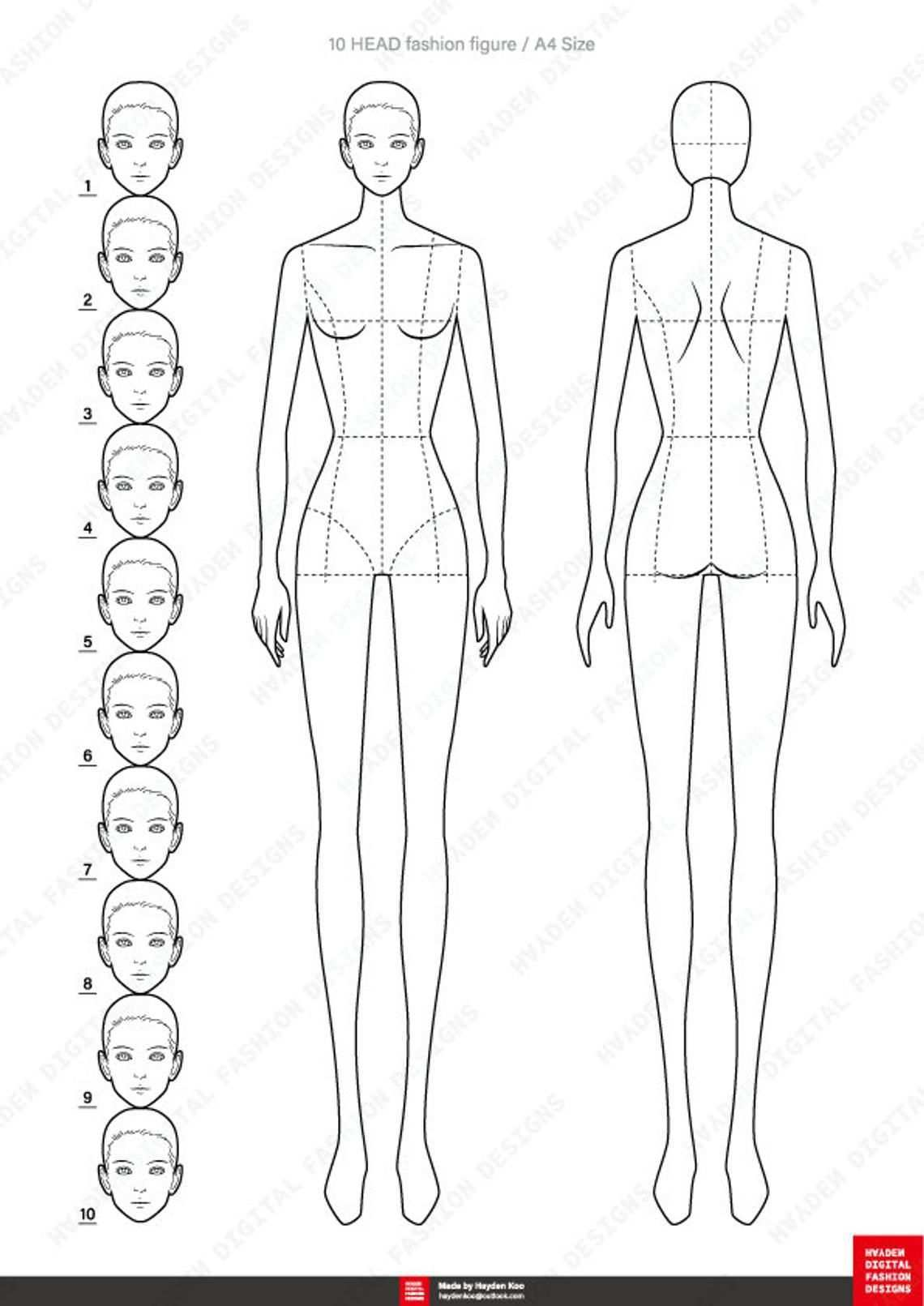Female Fashion Figure Template 10 Head Etsy Fashion Figure Templates Fashion Figures Fashion Figure Drawing