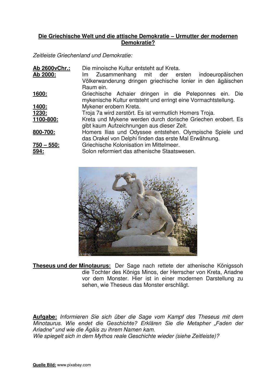 Die Griechische Welt Der Antike Theseus Und Der Minotaurus Attische Demokratie Griechisch Minotaurus
