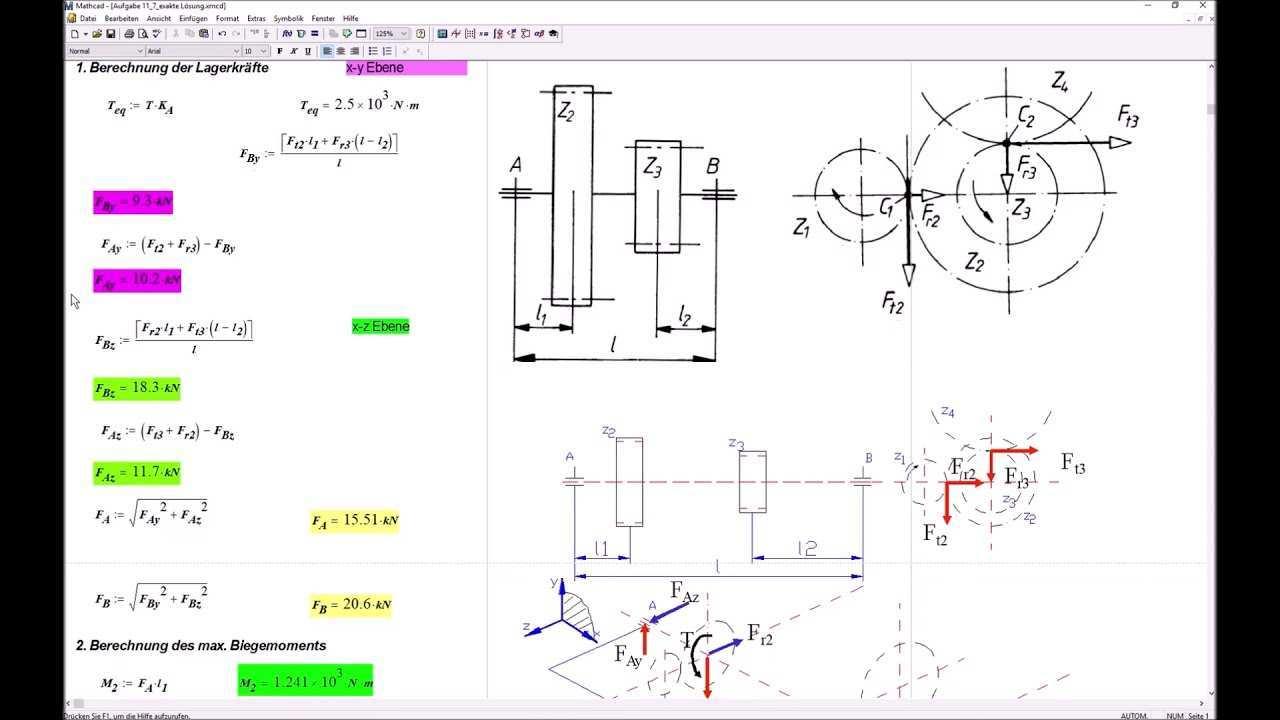 Mathcad Berechnungsbeispiel Getriebezwischenwelle Youtube