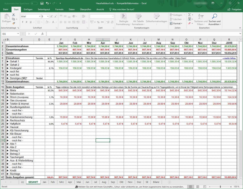 Spartipp Haushaltsbuch 2 021 Download Computer Bild