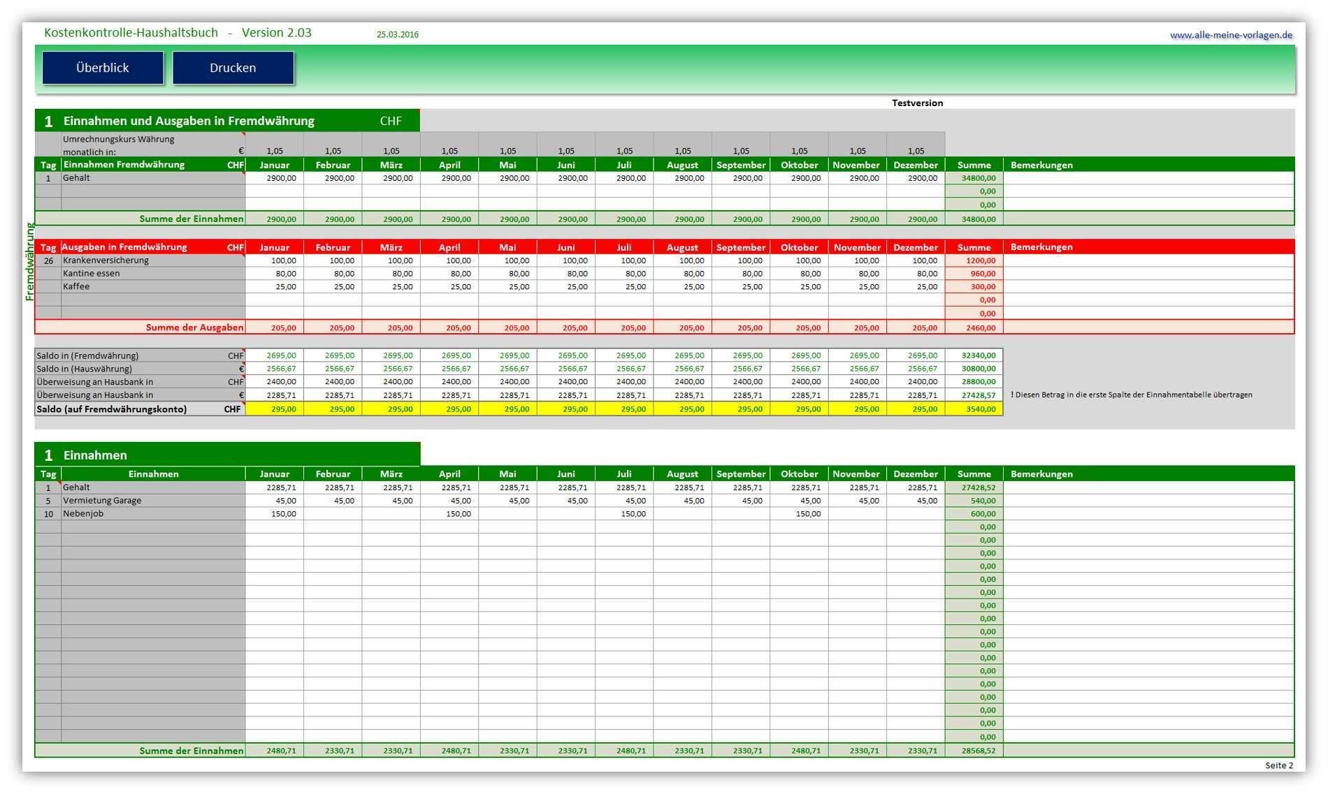 Kostenkontrolle Haushaltsbuch 2 03 Alle Meine Vorlagen De