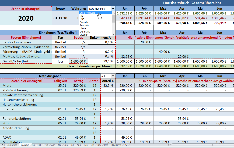 Haushaltsbuch Excel Funktionen