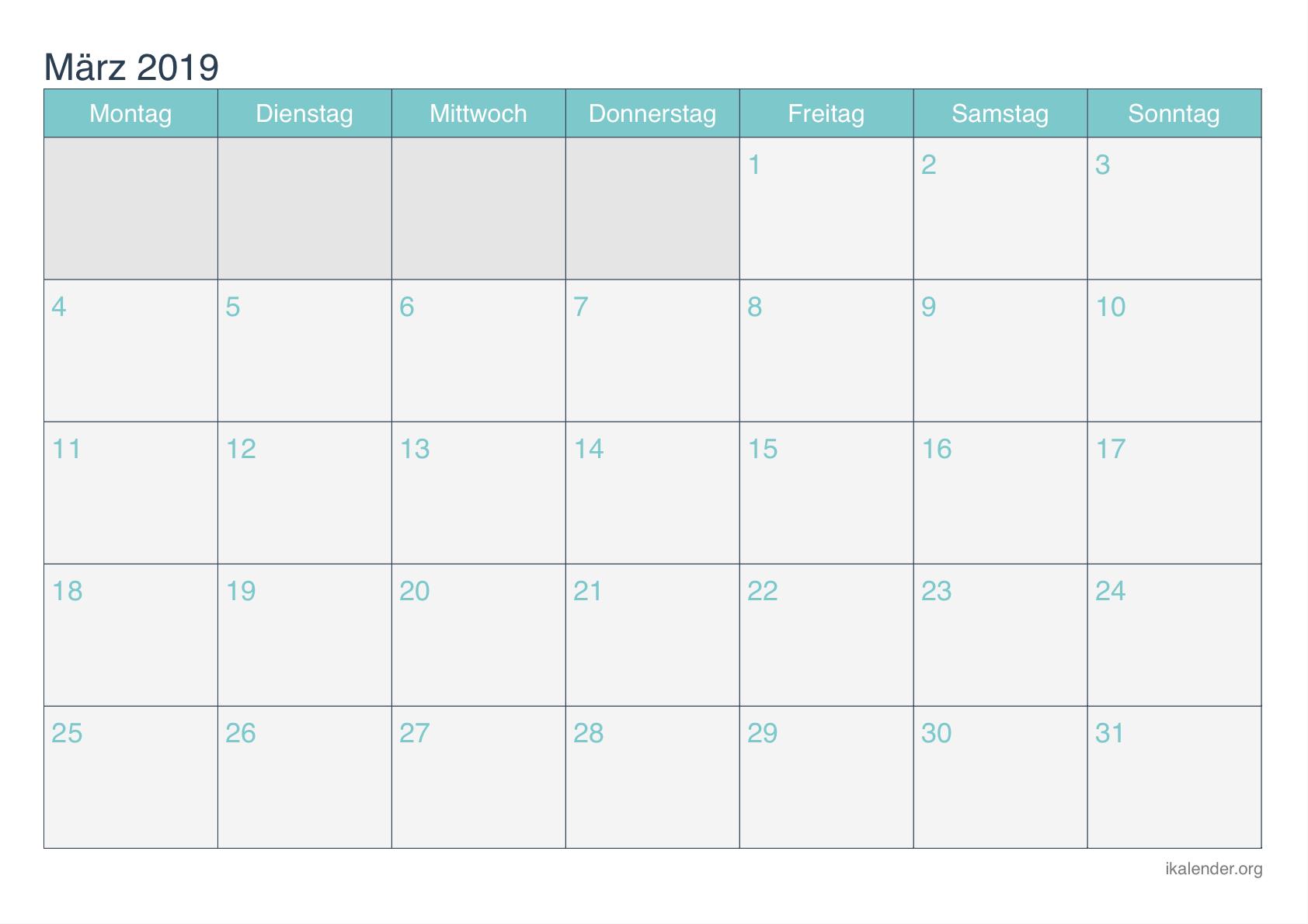 Kostenlose Druckbare Marz Kalender 2019 Calendar Printables Printable Calendar Print Calendar