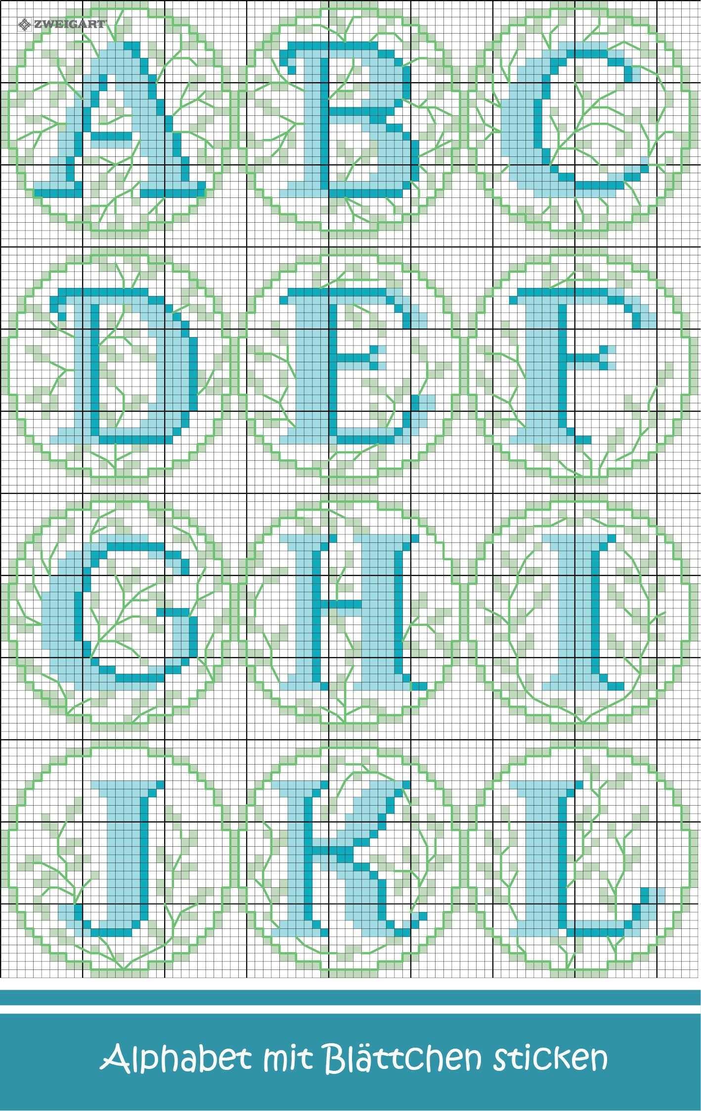 Alphabet Mit Kleinen Blattern Sticken Entdecke Zahlreiche Kostenlose Charts Zum Sticken Alphabet Sticken Sticken Kreuzstich Sticken