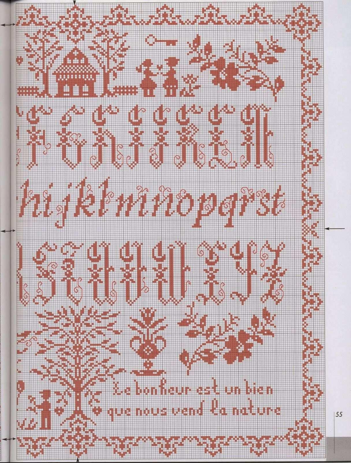 Qualche Sampler Kreuzstich Sticken Monogramm