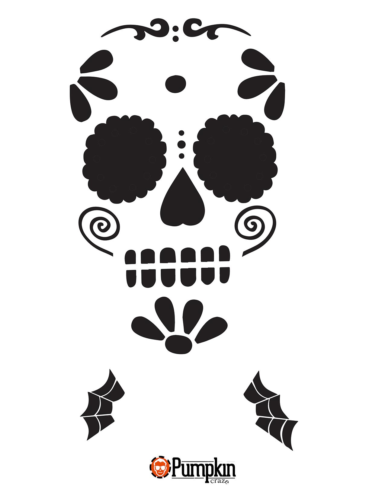 Effd60c10045f4e85faed585d359a811 Png 1275 1650 Sugar Skull Pumpkin Pumpkin Carvings Stencils Sugar Skull Pumpkin Stencil