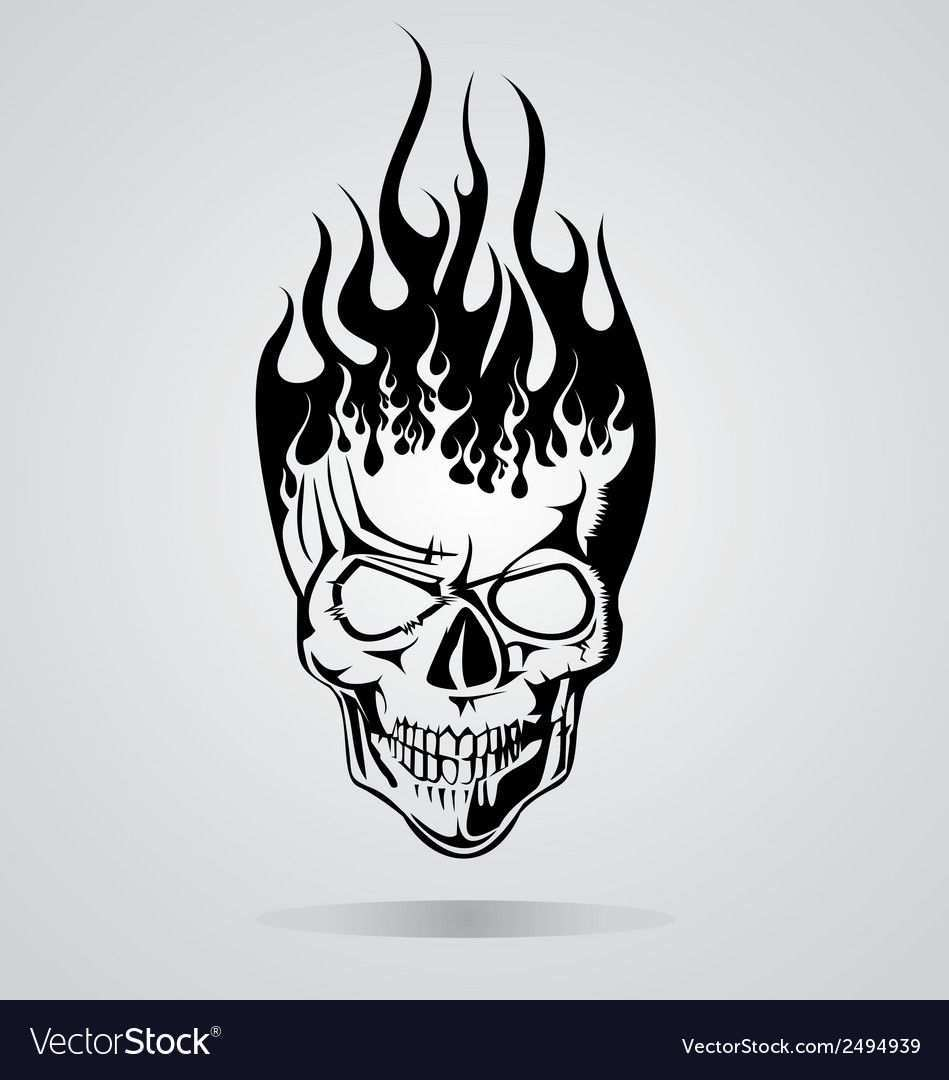 Burning Skull Tribal Download A Free Preview Or High Quality Adobe Illustrator Ai Eps Pdf And High Resolution Skull Art Drawing Skull Stencil Skulls Drawing